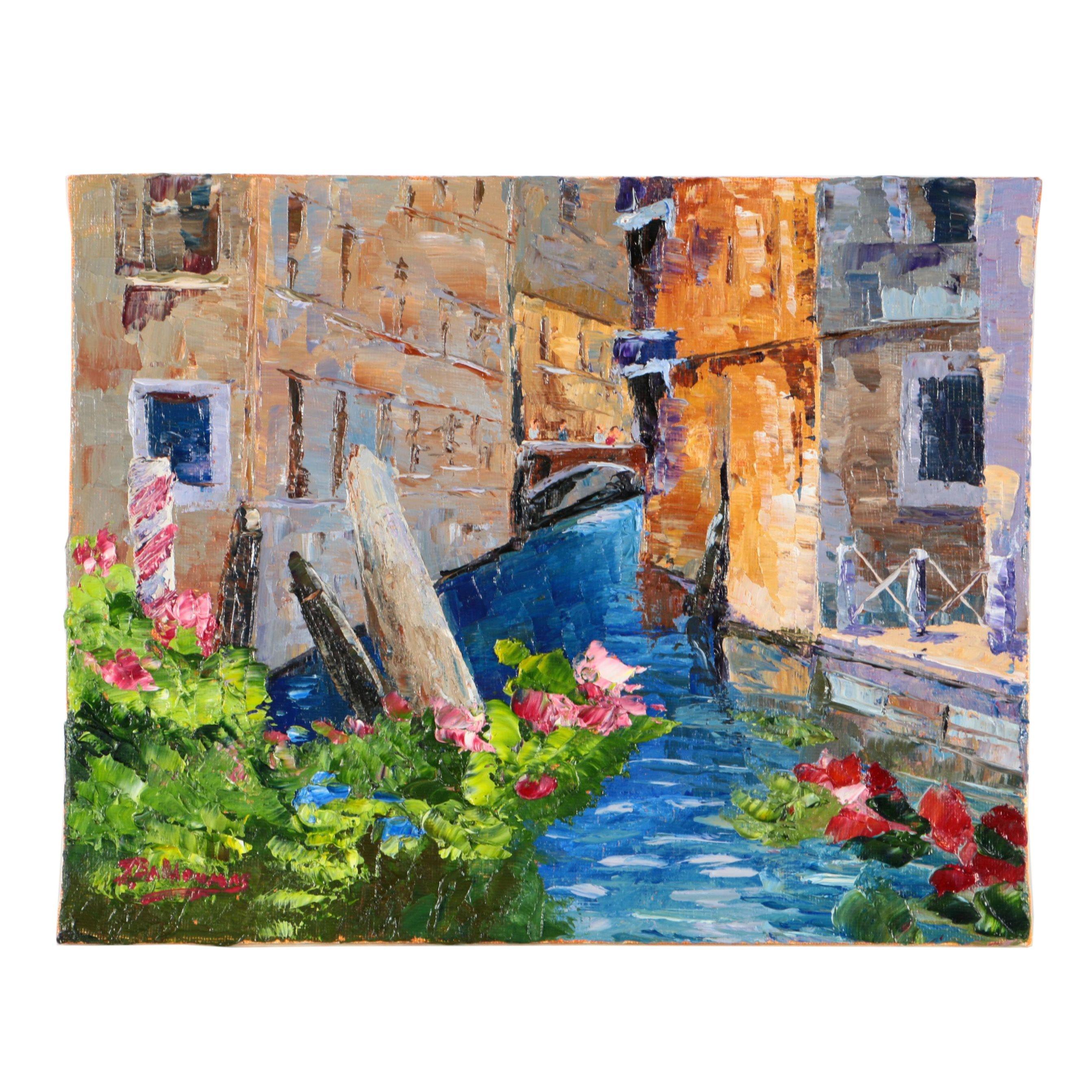 "James Baldoumas Oil Painting on Canvas Board ""Venetian Canal"""