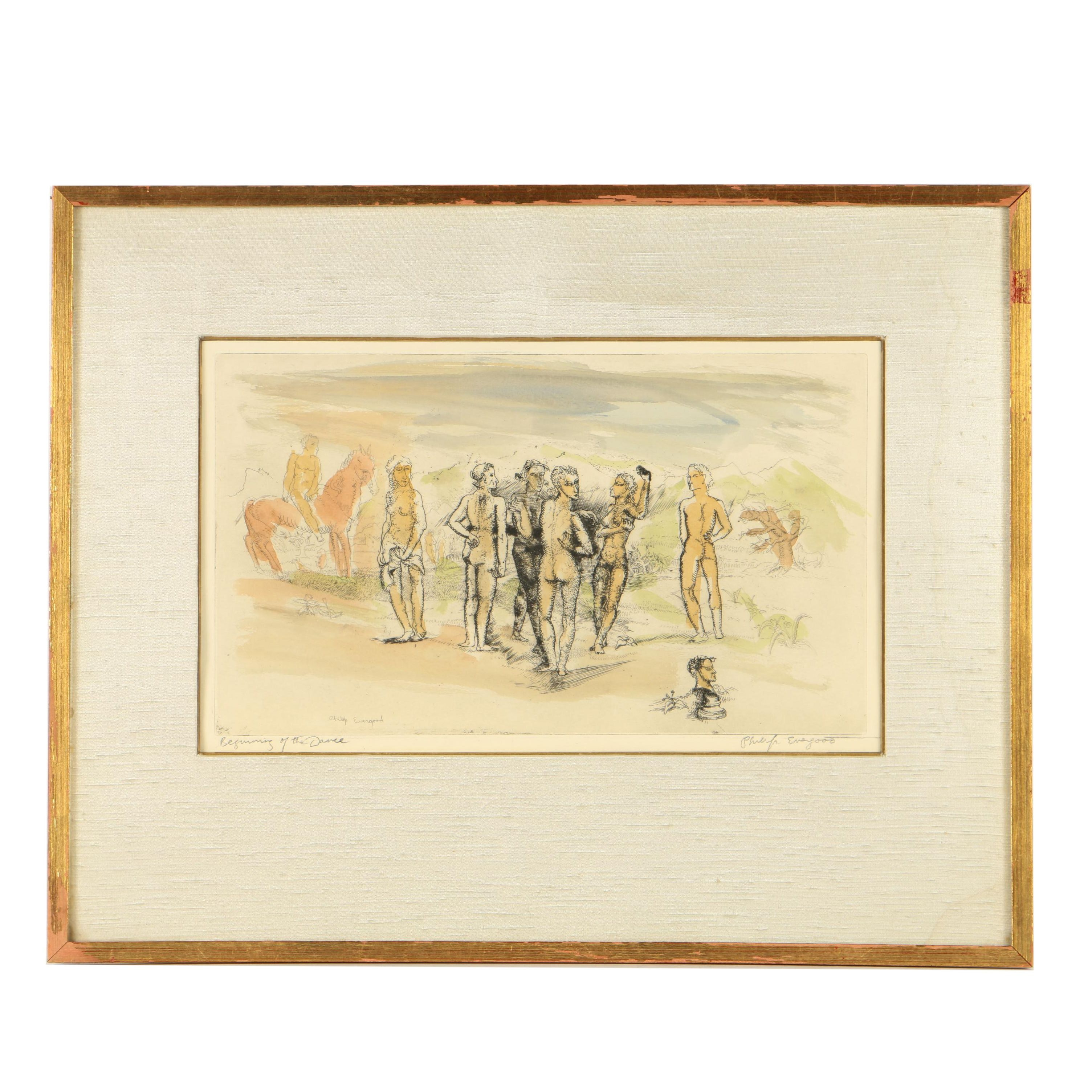 """Philip Evergood Hand-Colored Etching """"Beginning of the Dance"""""""