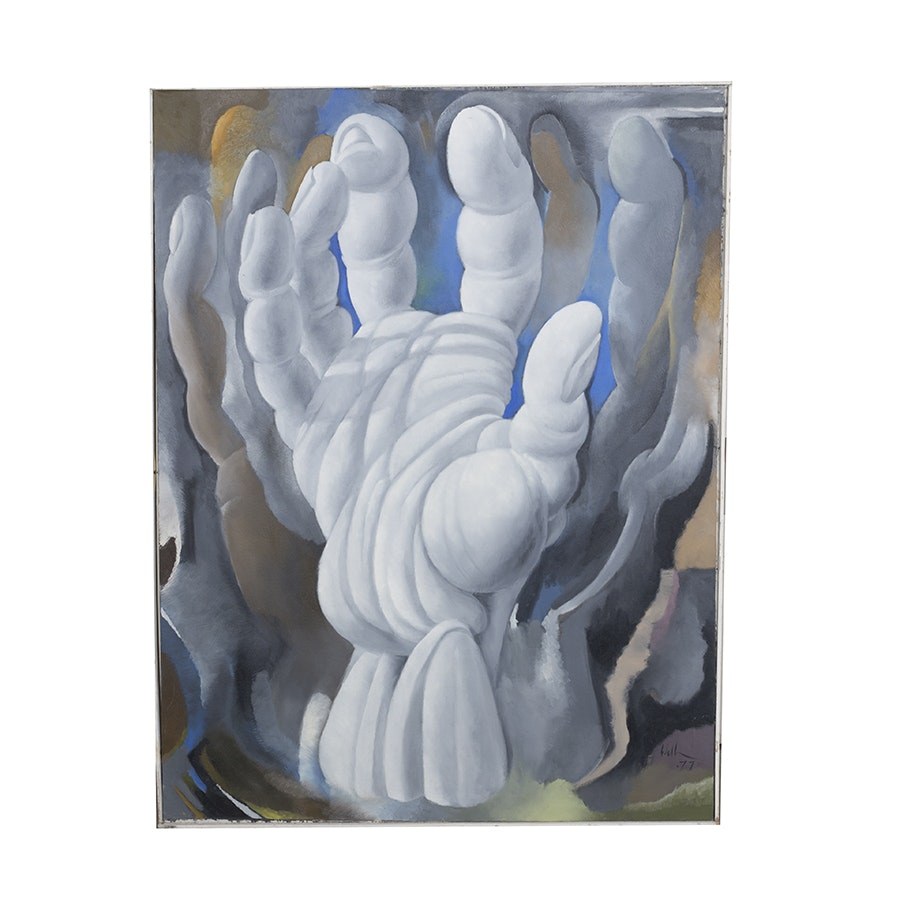 "David Walker Acrylic on Canvas ""Hand in Limbo"""