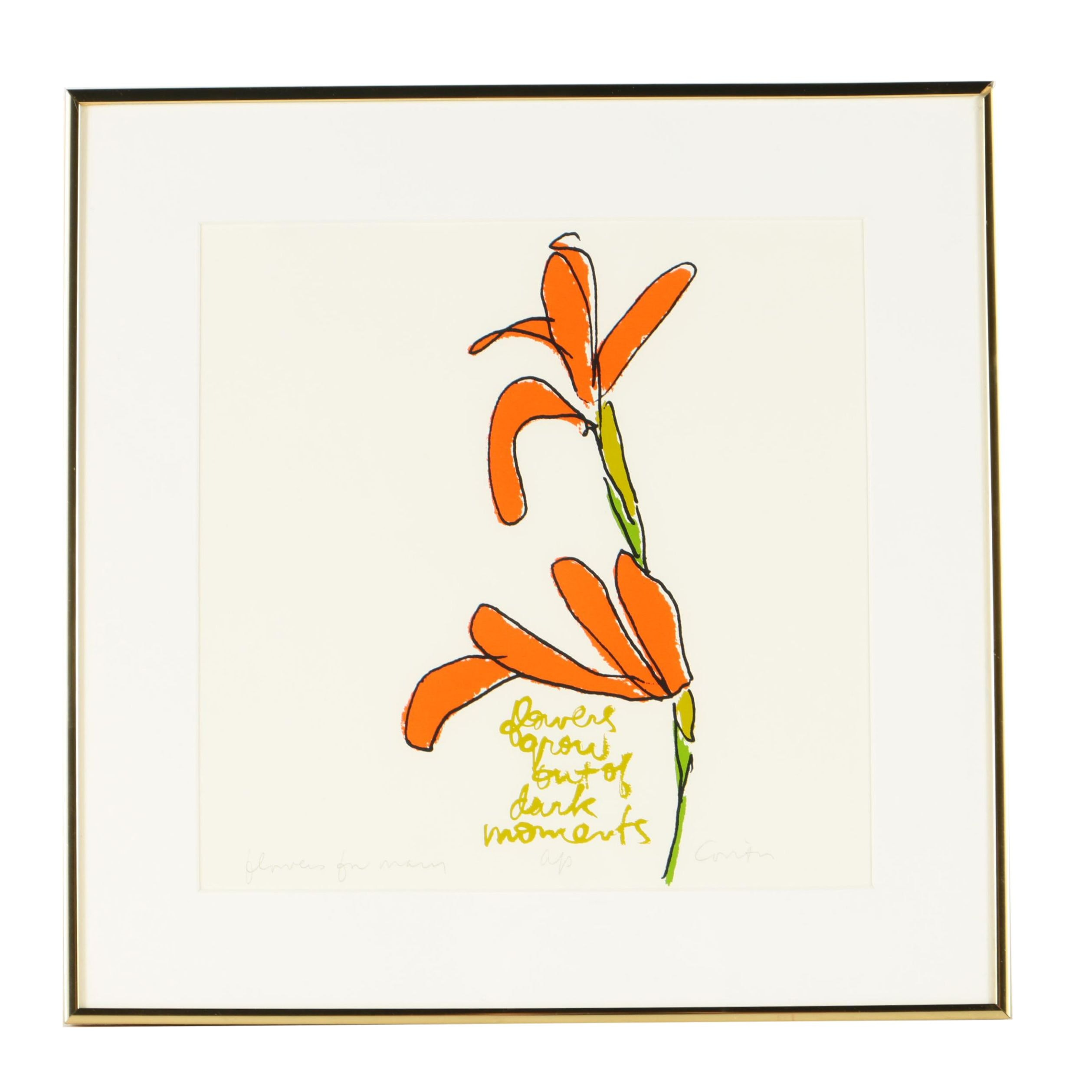 "Sister Corita Kent Limited Edition Serigraph ""Flowers for Mary"""