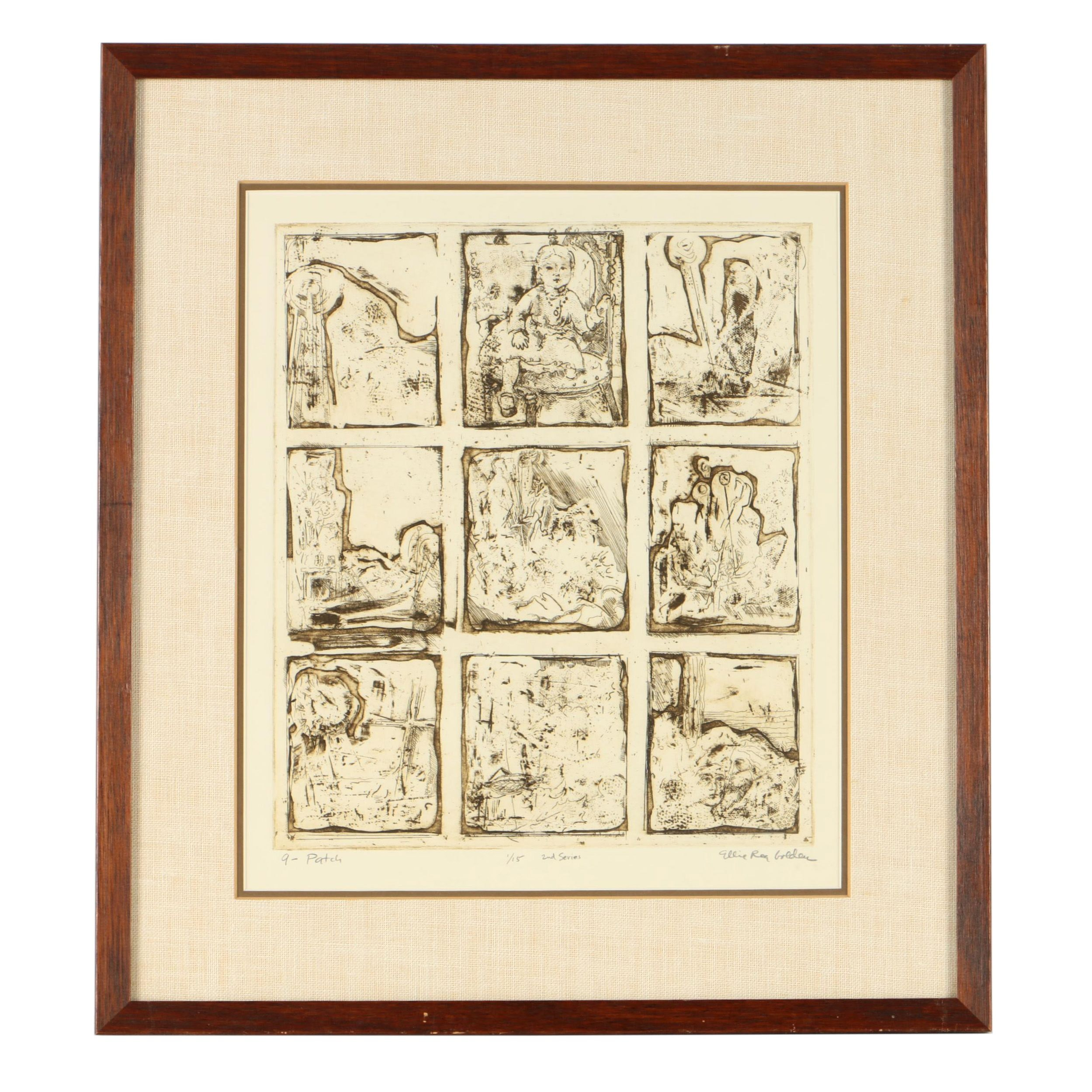"""Ellie Rea Golden Limited Edition Etching on Paper """"9 - Patch"""""""