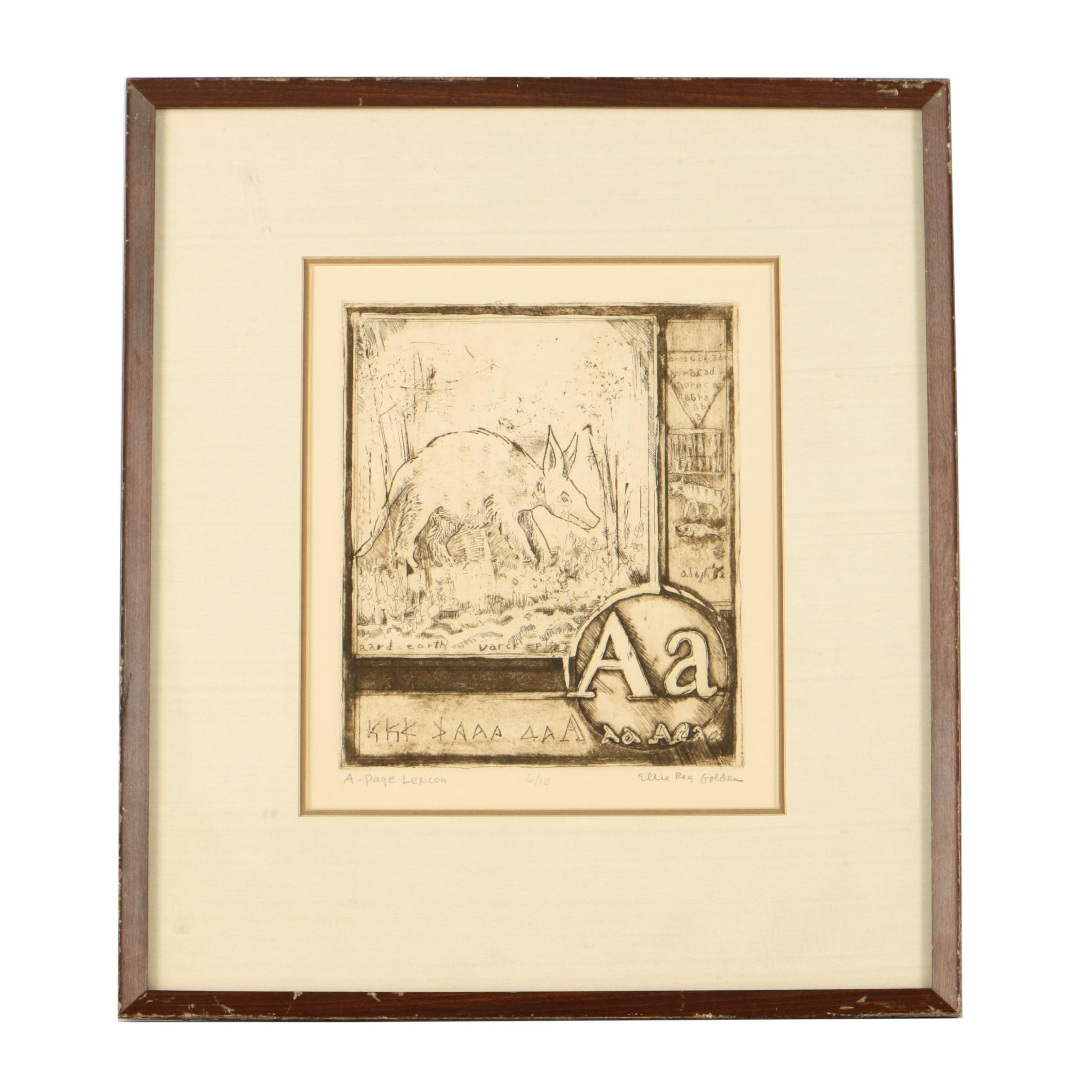 """Ellie Rea Golden Limited Edition Etching on Paper """"A - Page Lexicon"""""""
