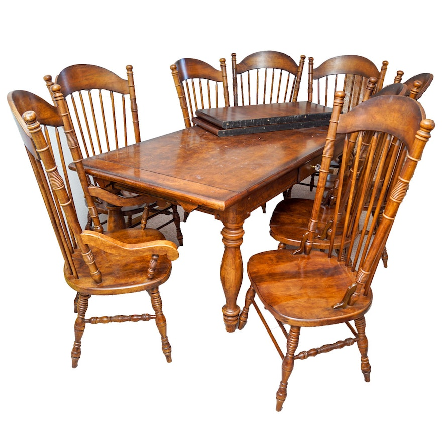 Early American Style Burlwood Dining Room Table & Windsor