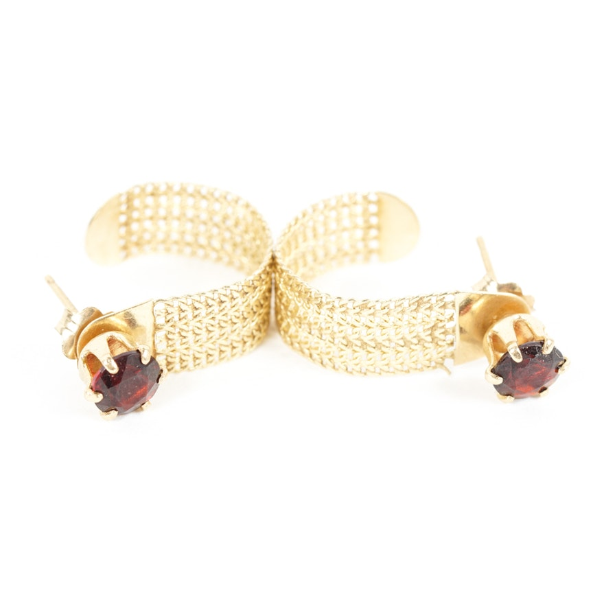 Garnet Stud Earrings With 14k Yellow Gold Earring Jackets