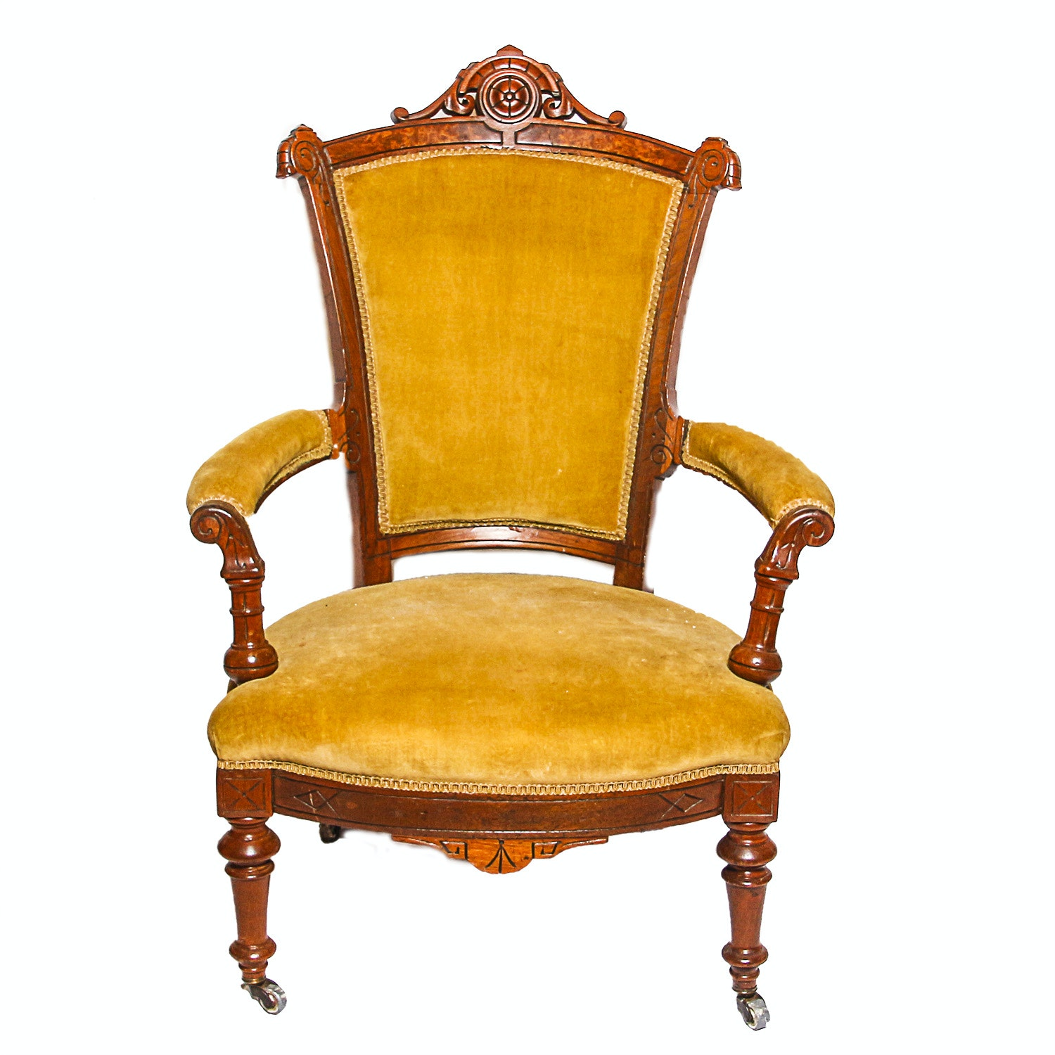 Antique Victorian Walnut Upholstered Side Chair