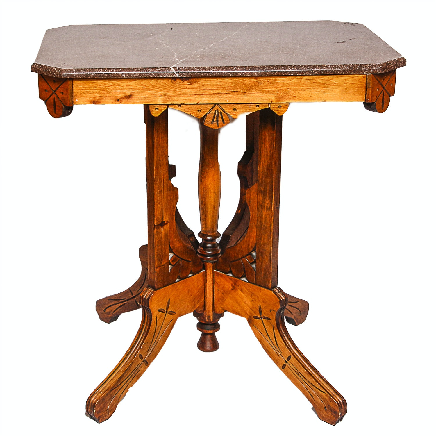 Antique Victorian Oak Side Table with Marble Top