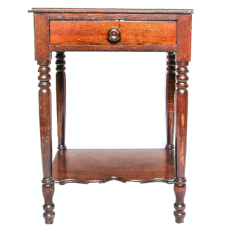 One Drawer Oak Side Table