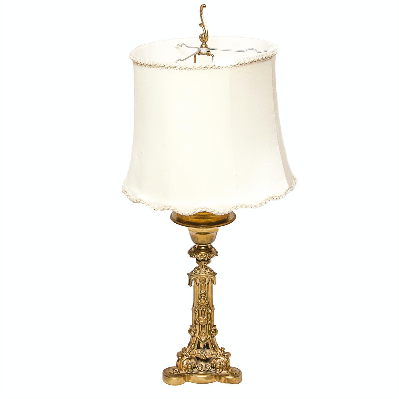 Vintage Ornate Gilded Pillar Table Lamp