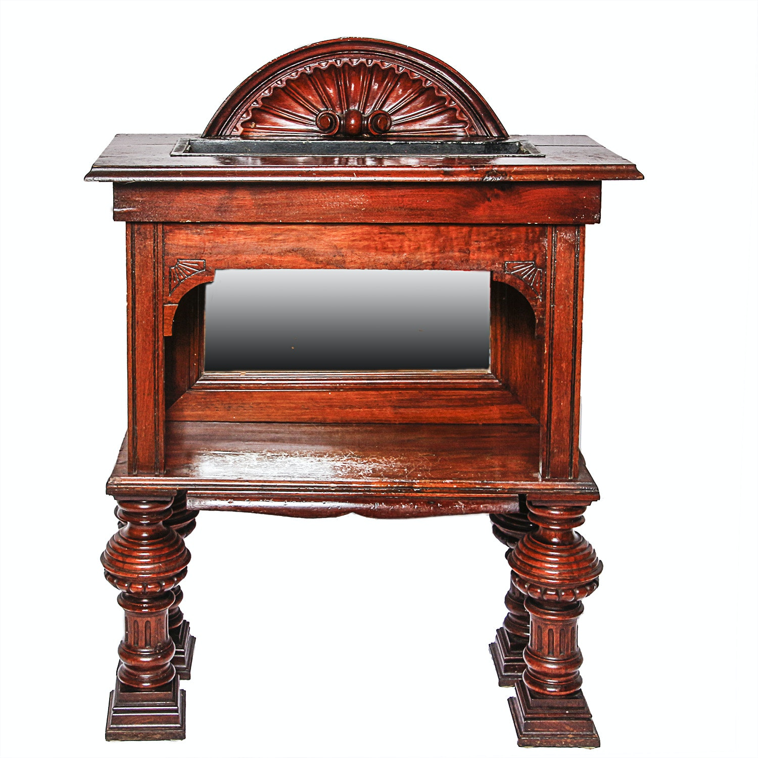 English Late Victorian Carved Walnut Planter Table