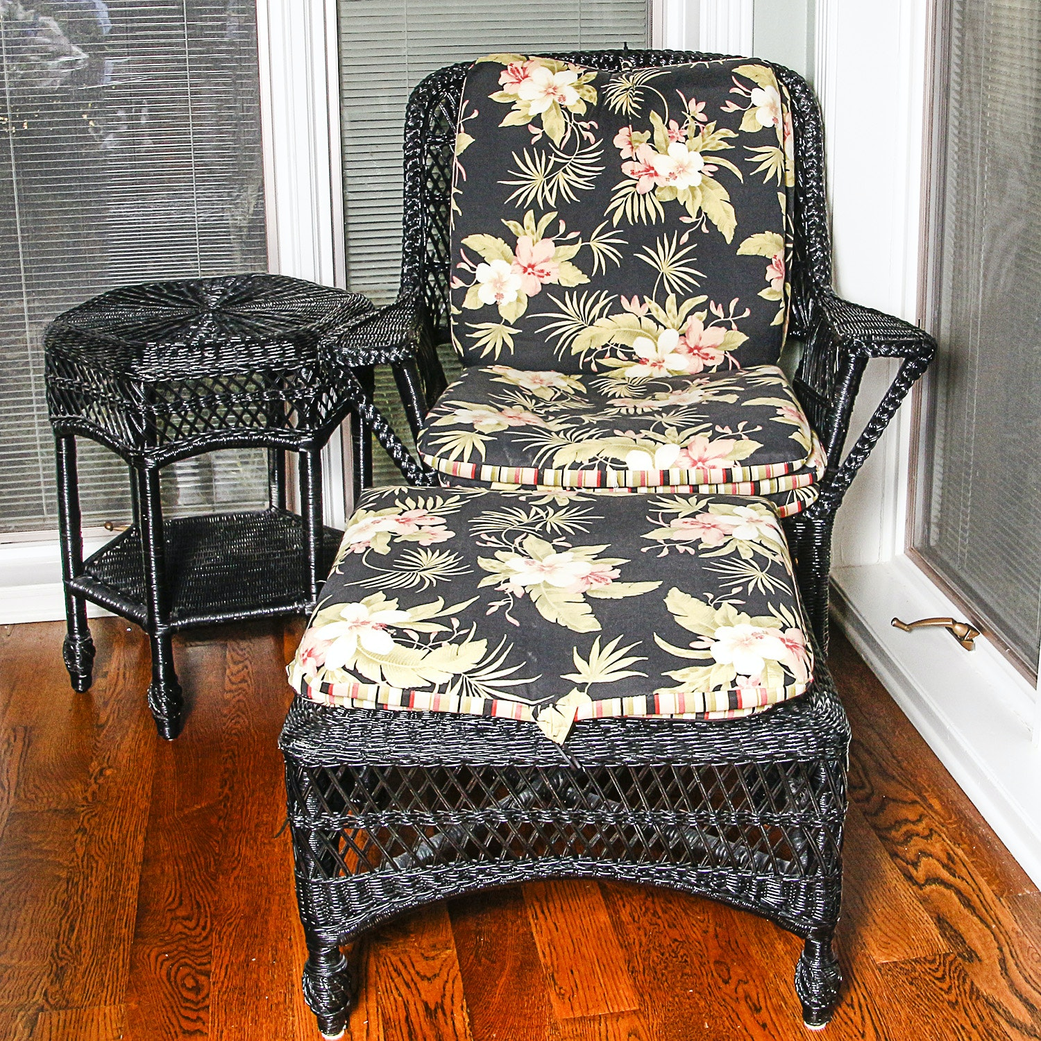 Black Wicker Chair with Ottoman and Side Table