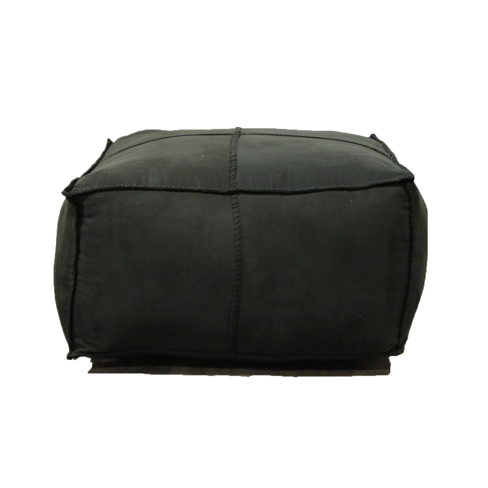 Upholstered Dark Gray Ottoman by Surya