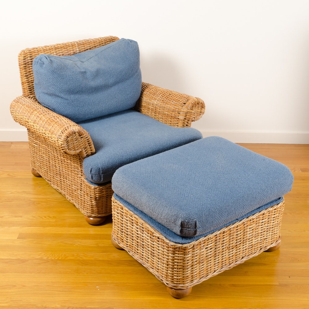 Wicker Armchair and Ottoman by Walters Wicker Inc.