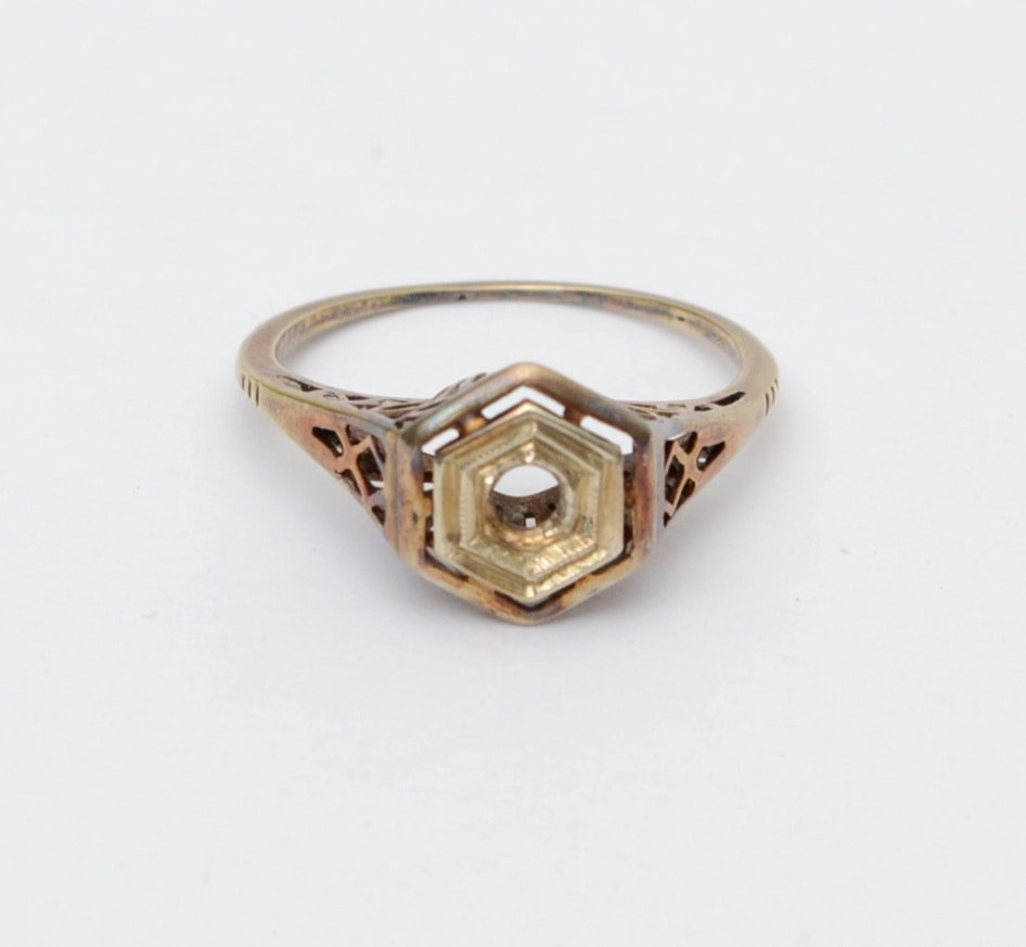 14K Yellow Gold Semi Mount Ring