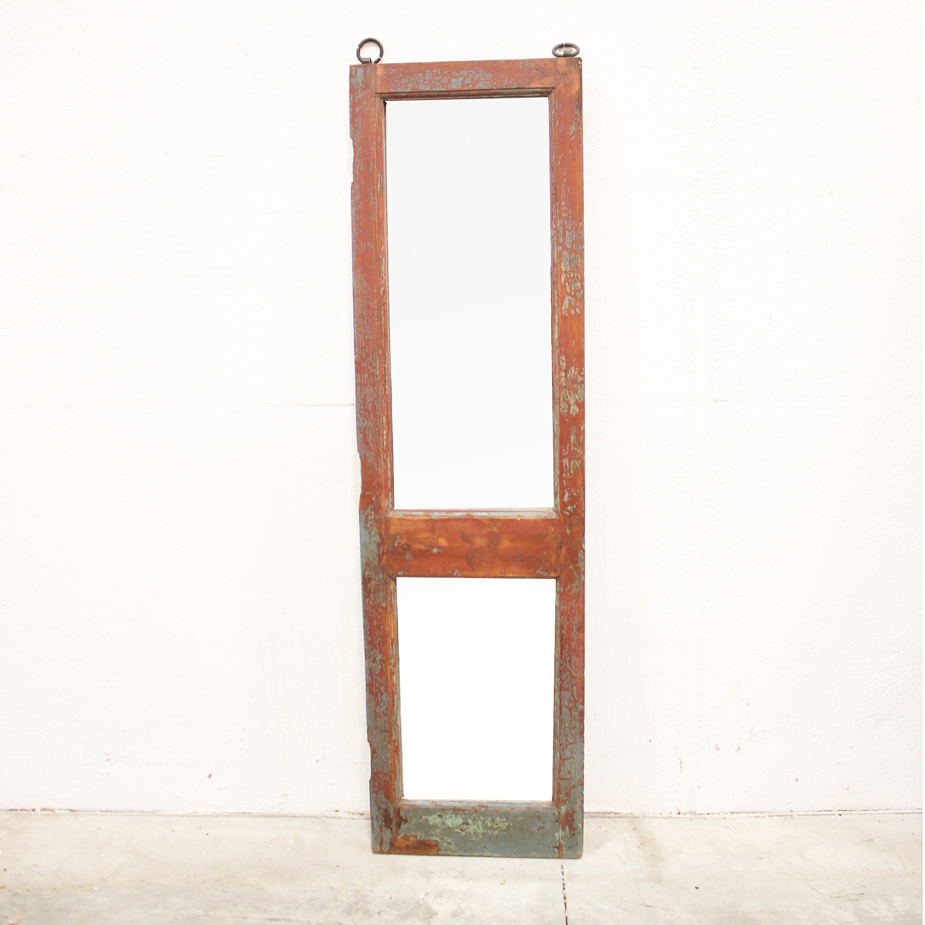 Tall Double Mirror with Wood Frame