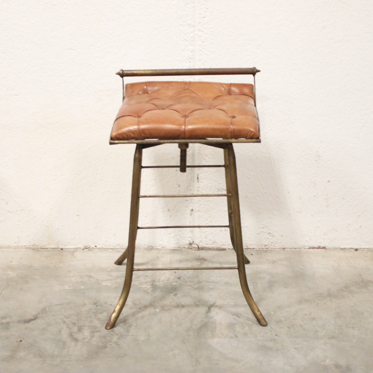 Brass and Leather Upholstered Barstool