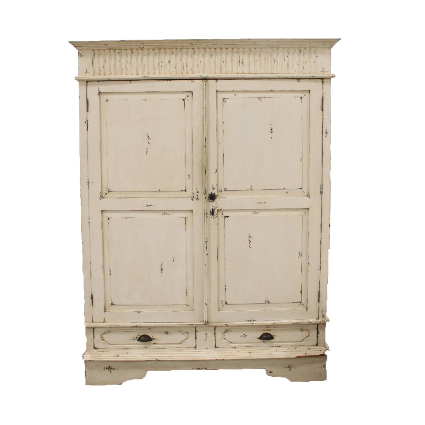 Painted and Distressed Wood Armoire