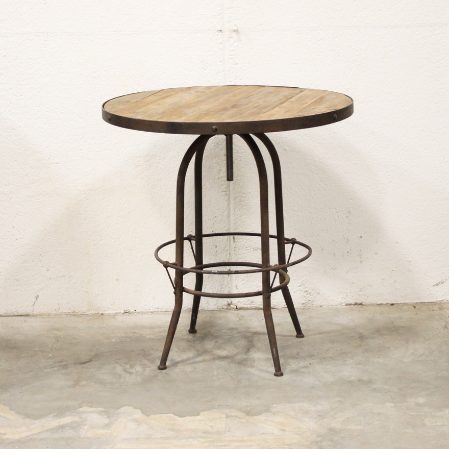 Round Cafe Table With Metal Base EBTH - Round metal cafe table