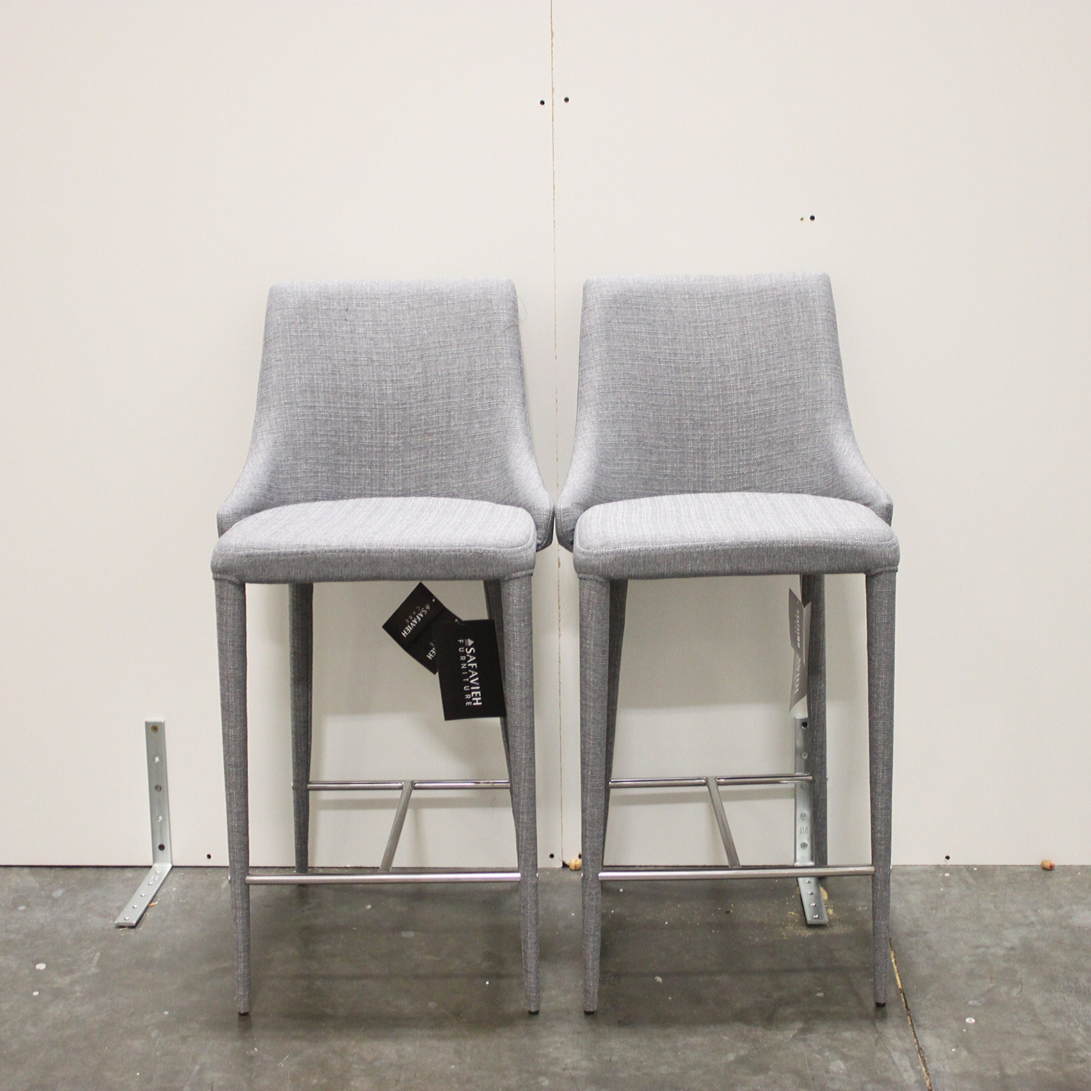 Pair of Gray Barstools by Safavieh Furniture