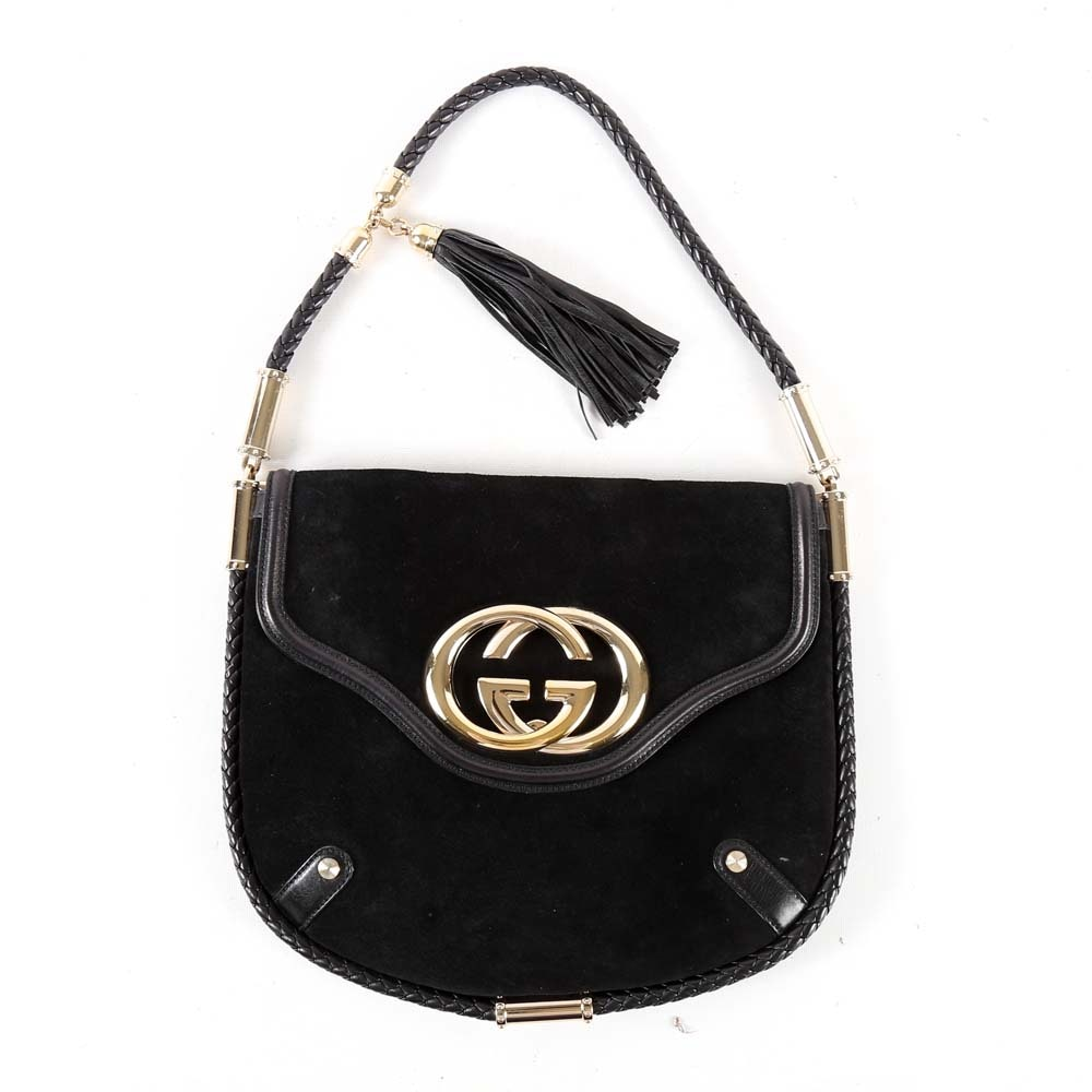 Gucci Britt Tassel Black Suede Shoulder Bag