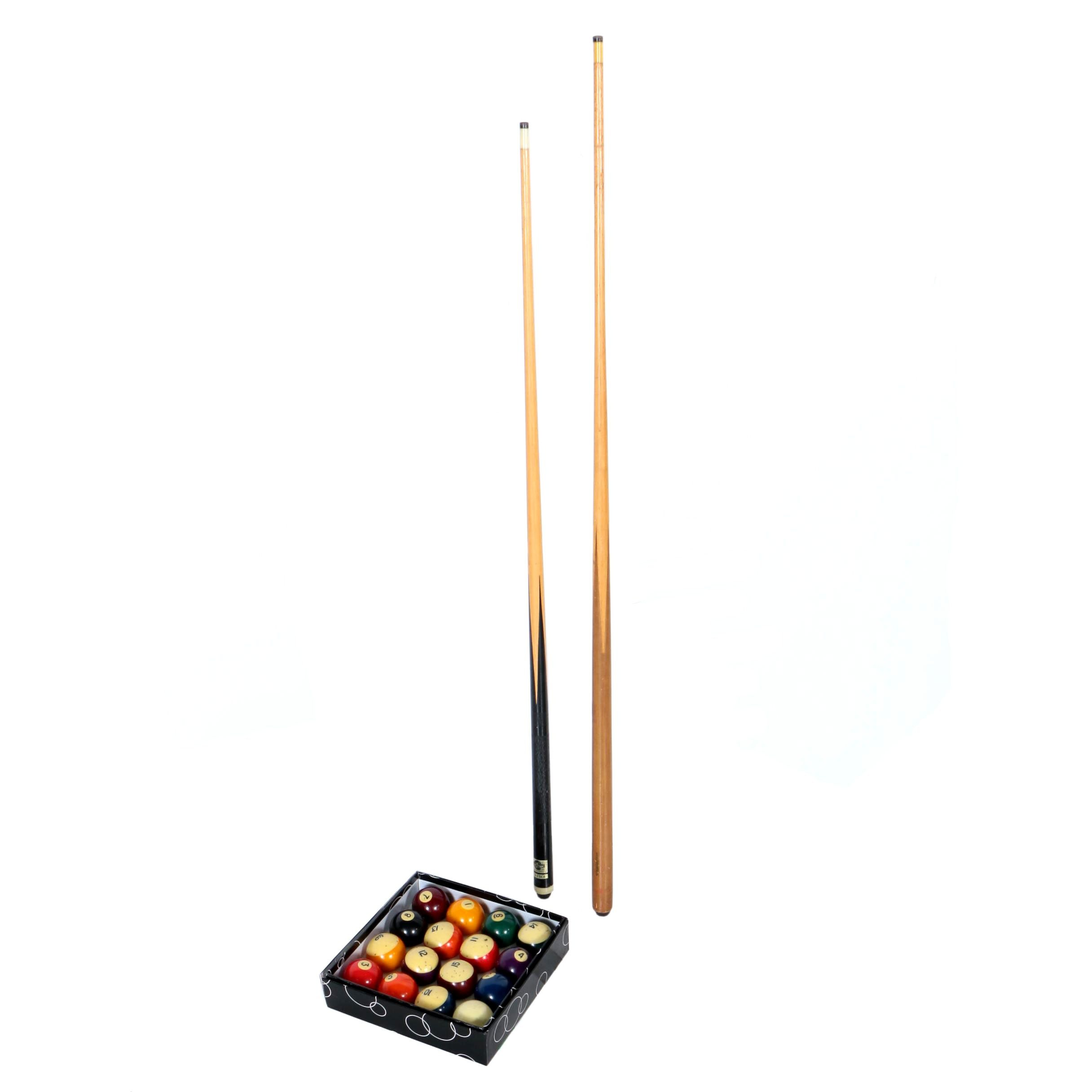 Set of Pool Balls and Cue Sticks, including a Brunswick and a High Kore