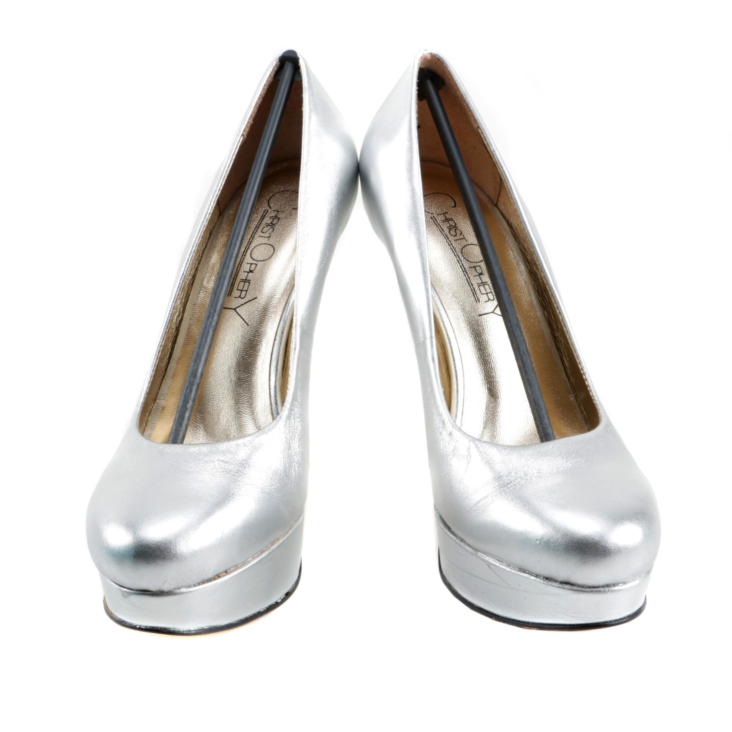 Christopher Coy Collection Prototype Heels in Metallic Silver Leather