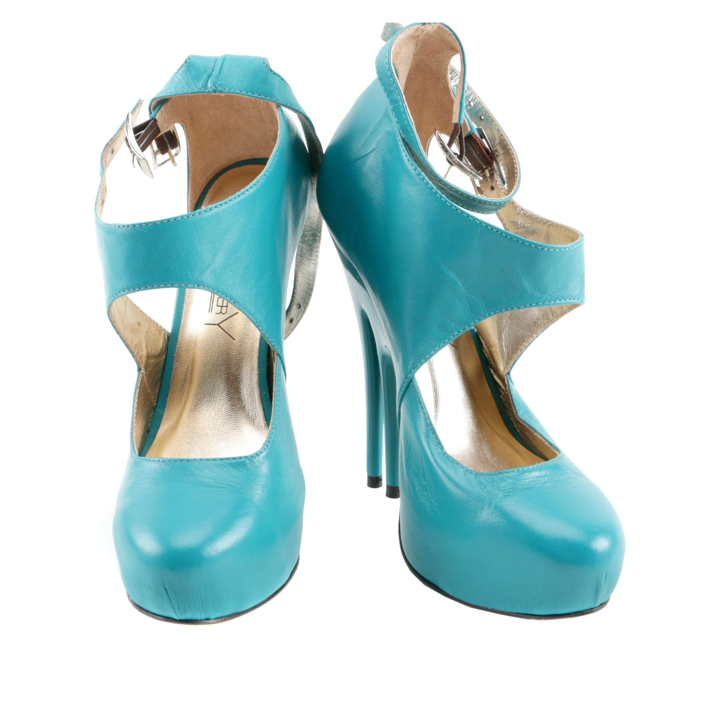 Christopher Coy Collection Prototype Heels in Aqua Leather