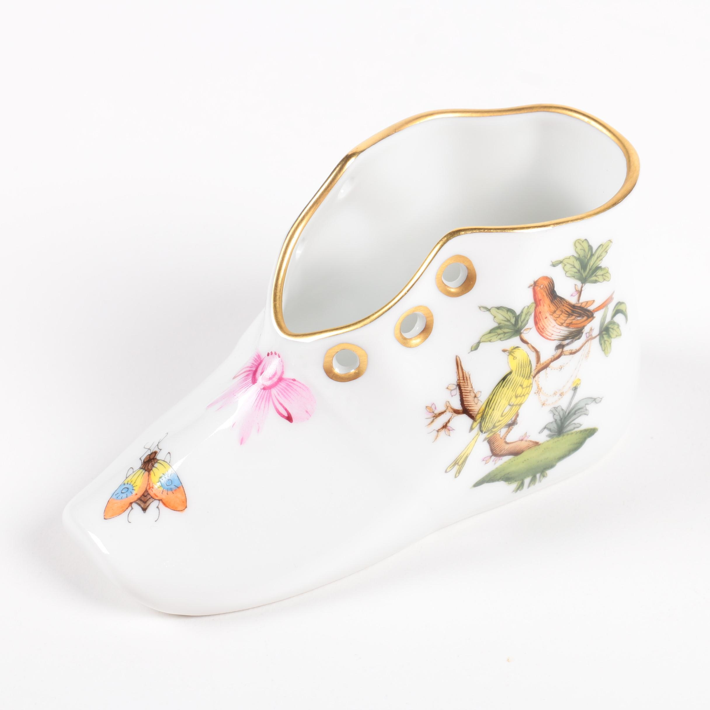 PRIORITY-Herend Hungary Porcelain Shoe Figurine