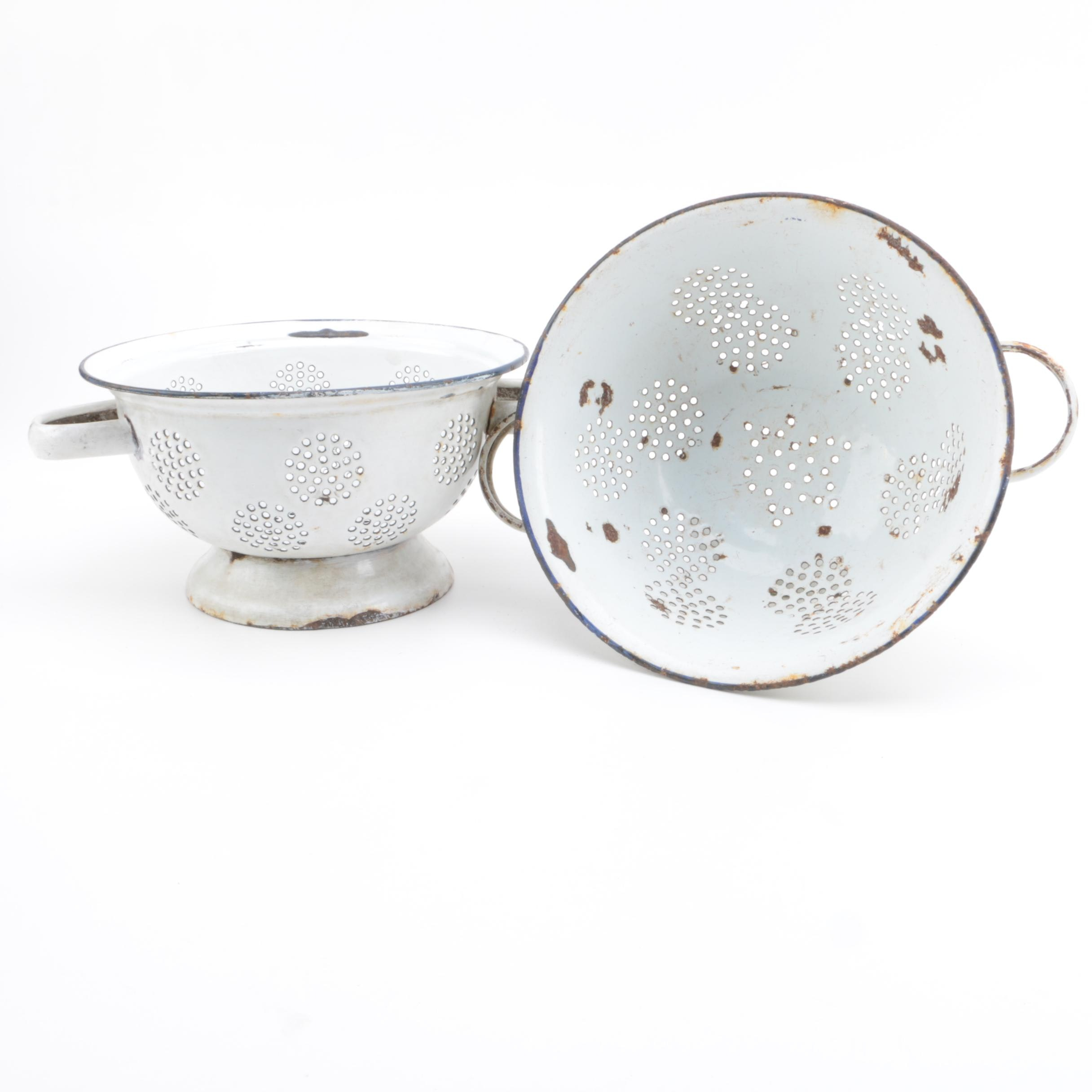 Pair of Vintage White Enameled Colanders