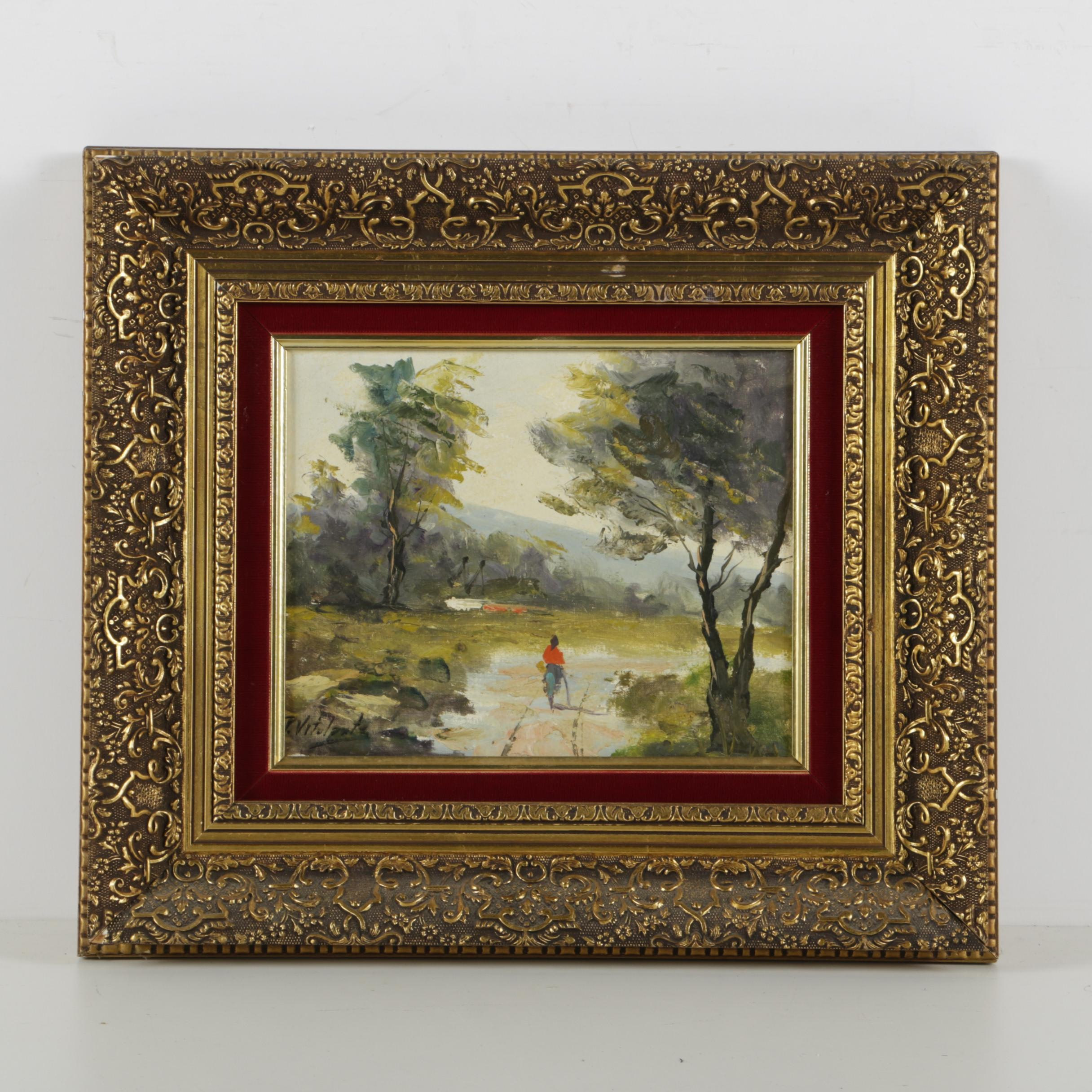 P. Vitolante Oil Painting on Canvas of an Outdoor Scene