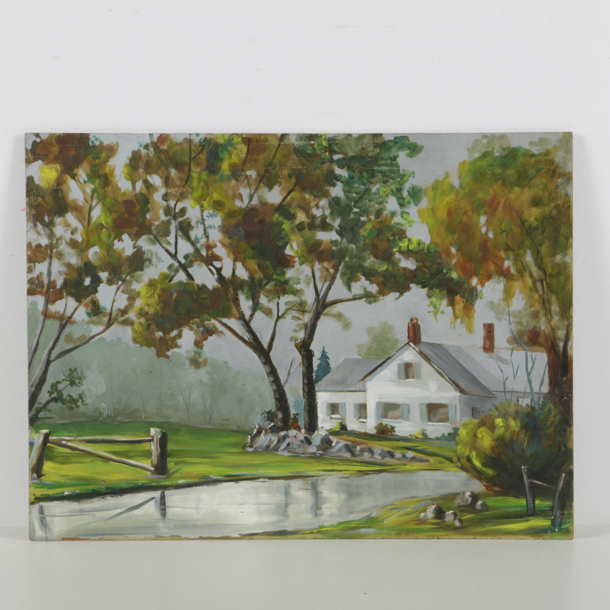 Oil Painting on Masonite of a Country House