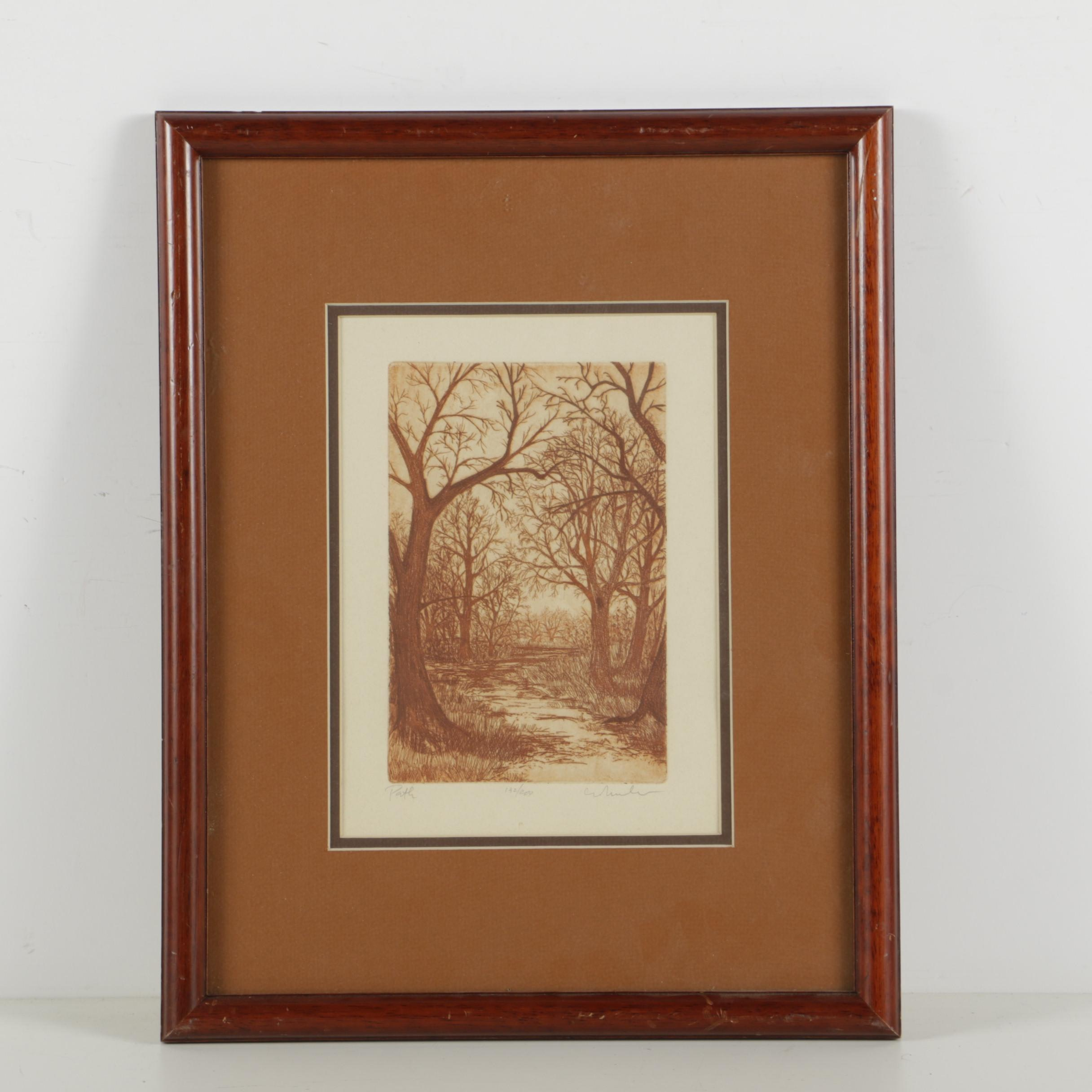 """Signed Limited Edition Etching with Aquatint on Paper """"Path"""""""