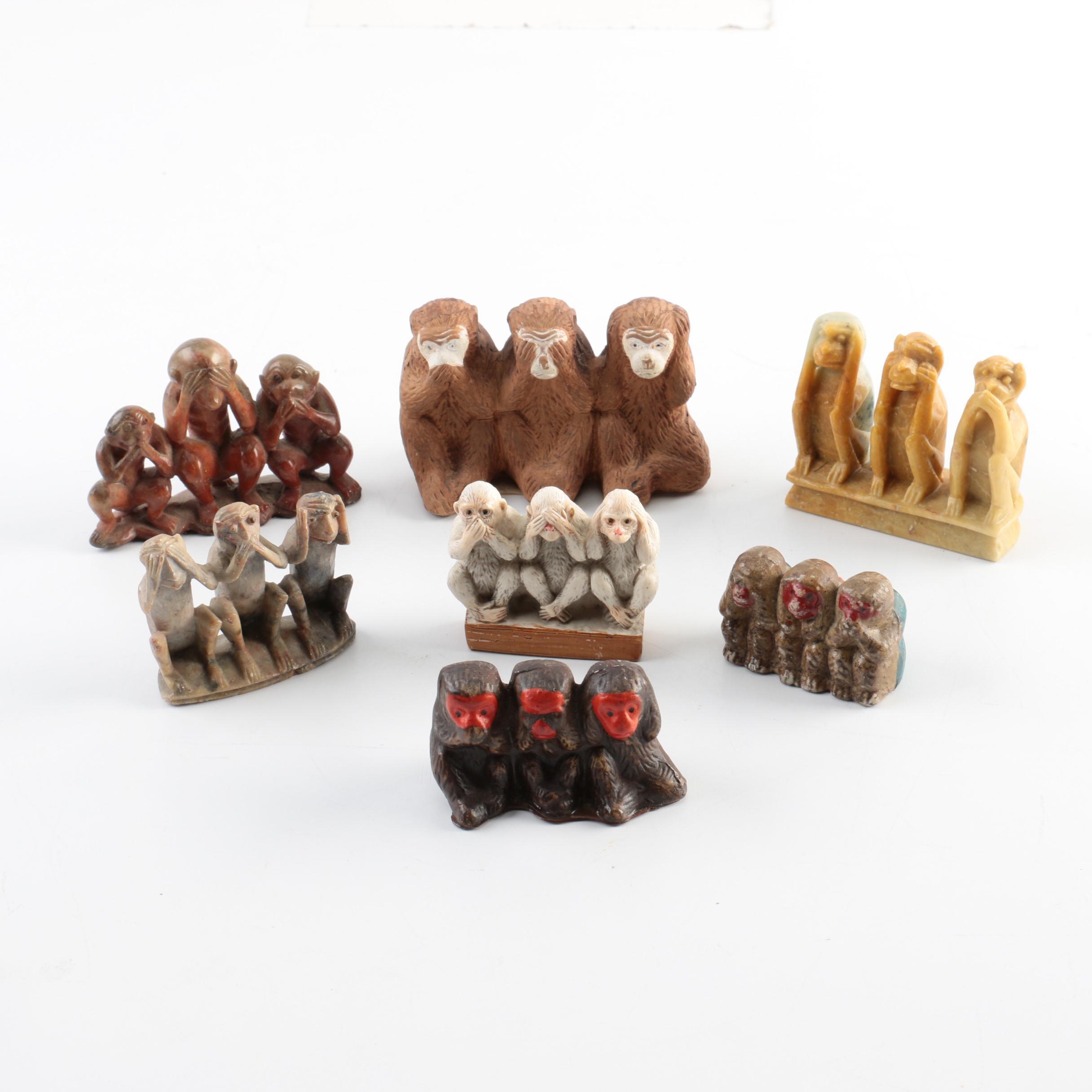 """""""Hear No, See No, Speak No Evil""""  Monkey Figurines"""