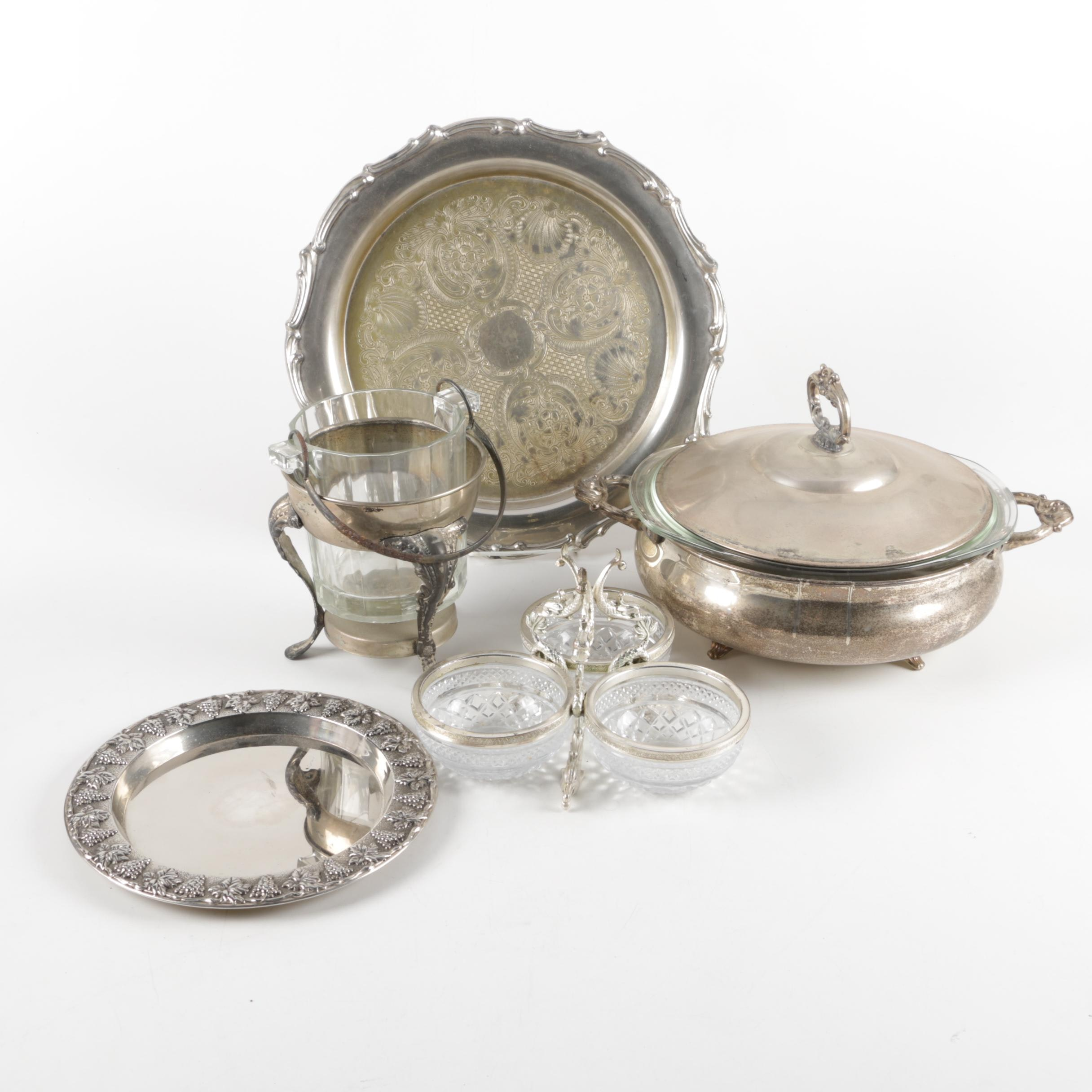 Karshi Chased Kiddush Plate with Other Silver Plate and Silver Tone Serveware