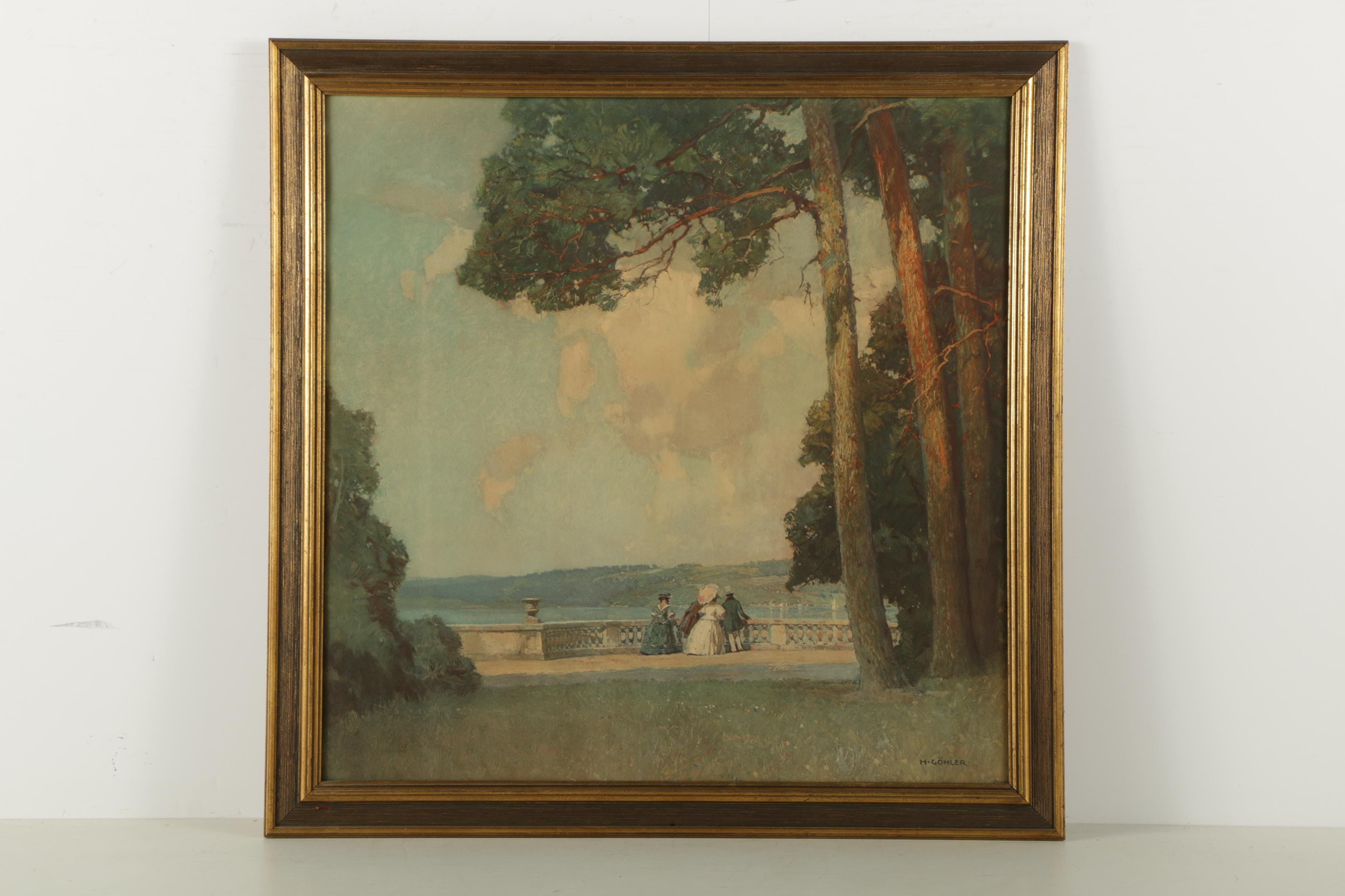 """Reproduction Print of """"Terrasse Am See"""" After Hermann Gohler"""