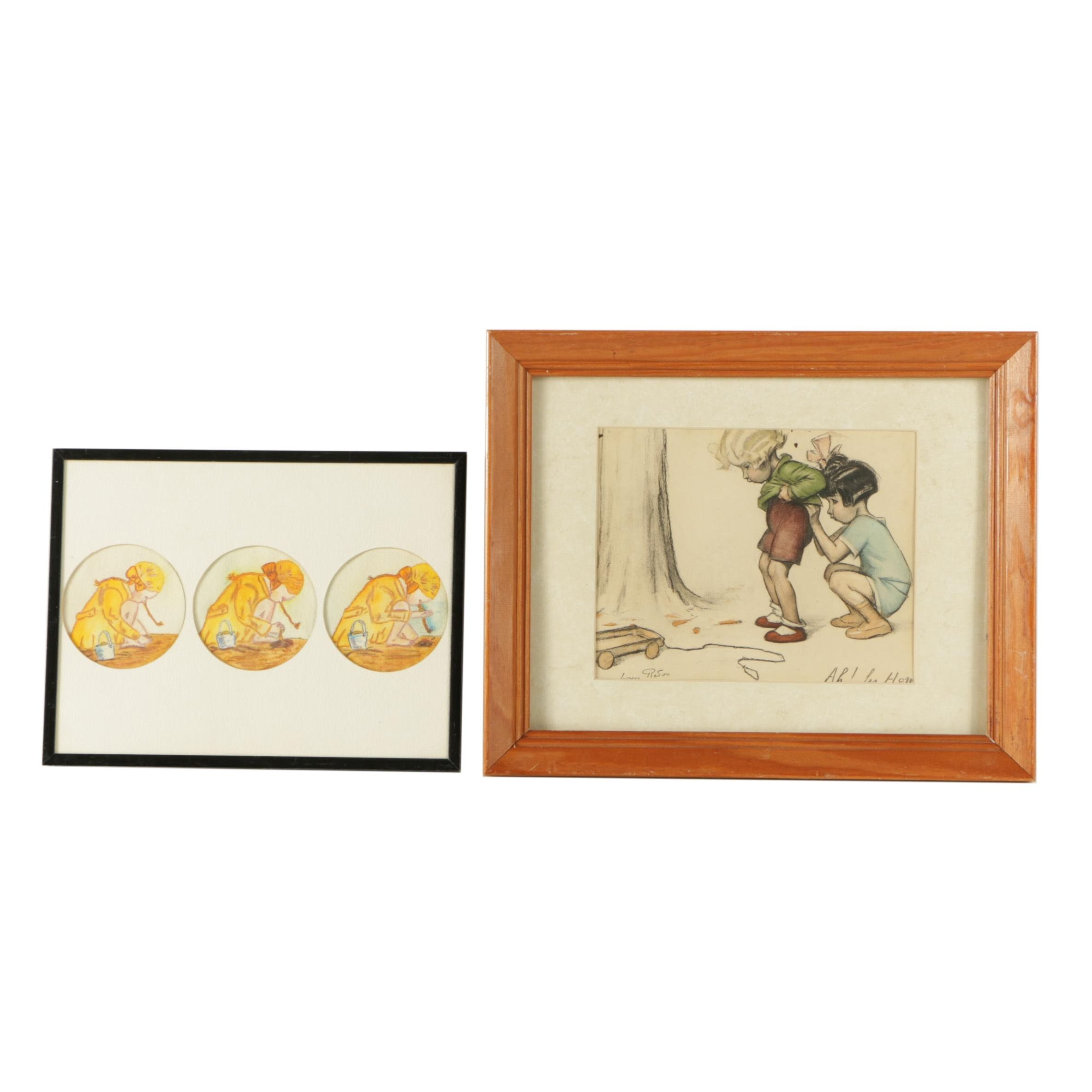 Mixed Media Painting and Etching of Children Including Georges Redon