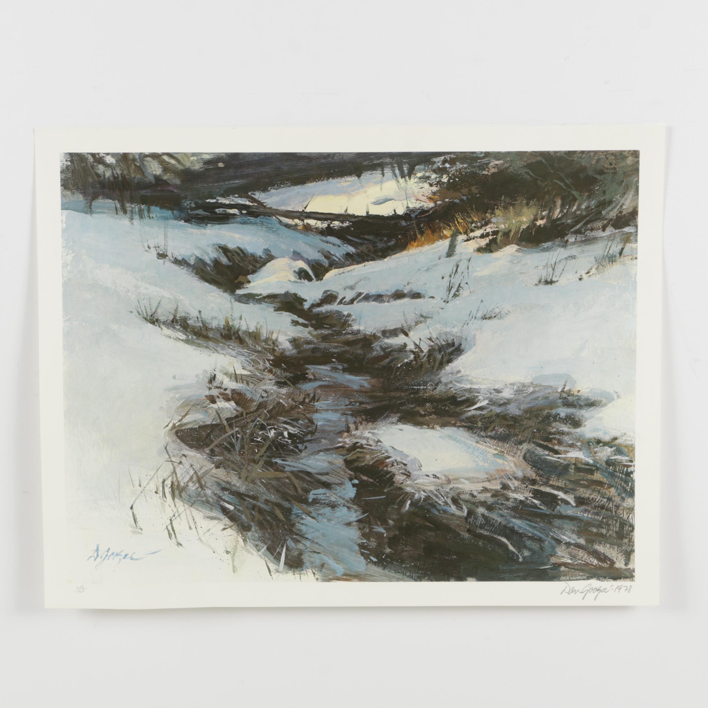 Dan Goozee Limited Edition Offset Lithograph of a Winter Landscape