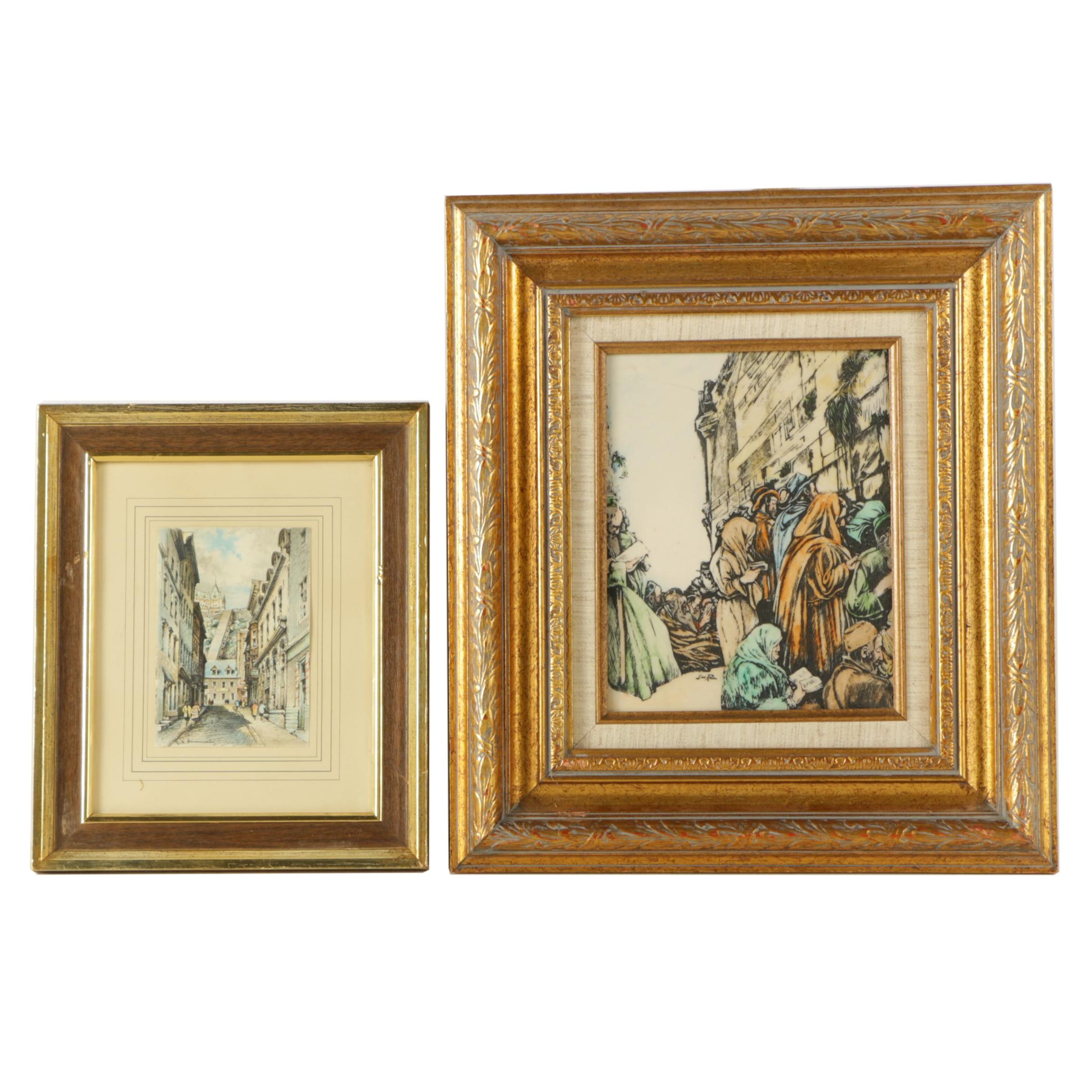Saul Raskin Etching and Lithograph of European Street Scene