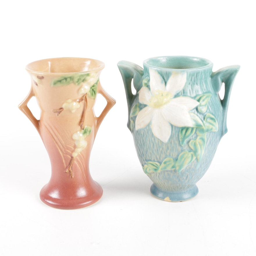 Roseville Snowberry And Clematis Vases Ebth