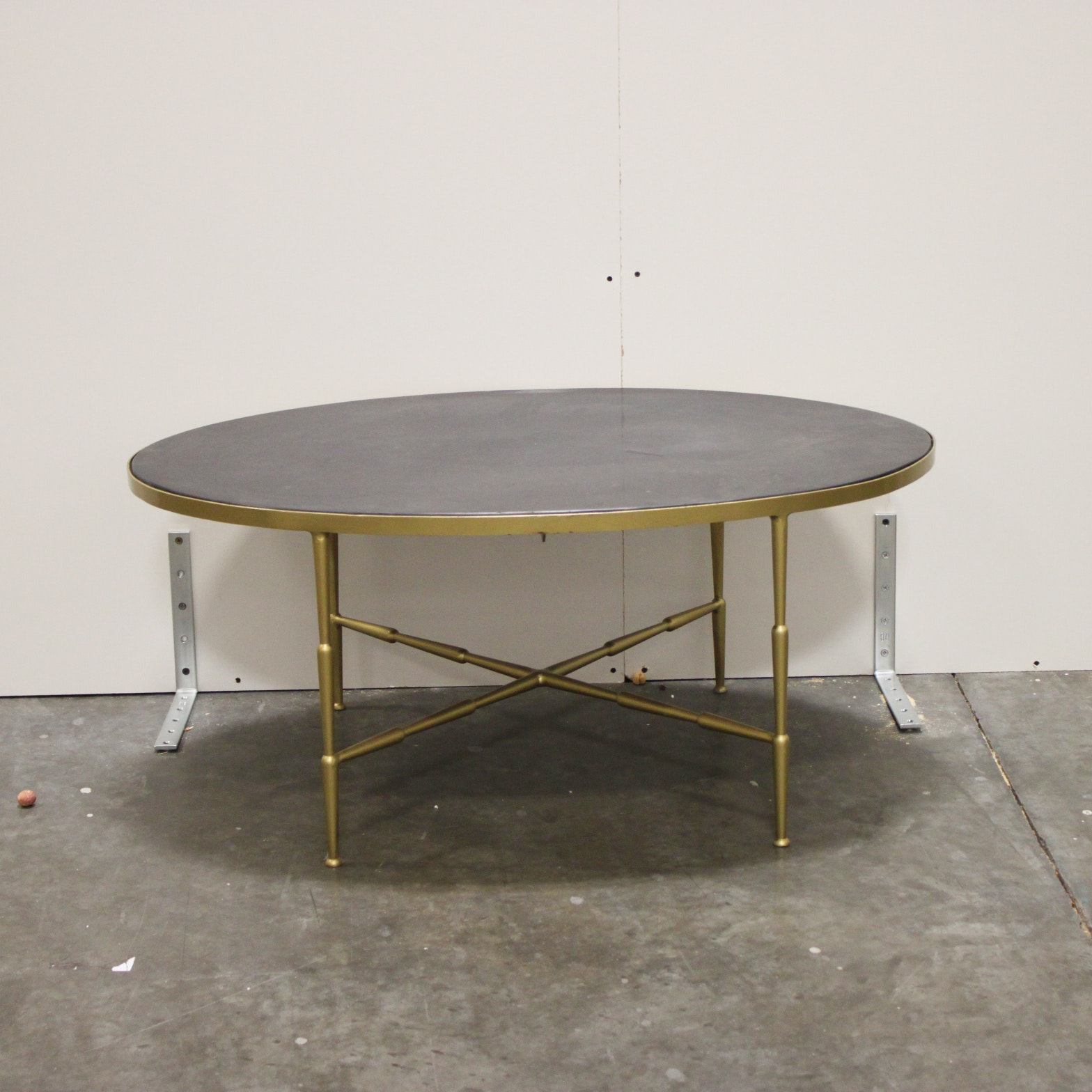 Hollywood Regency Style Stoneware Top Coffee Table