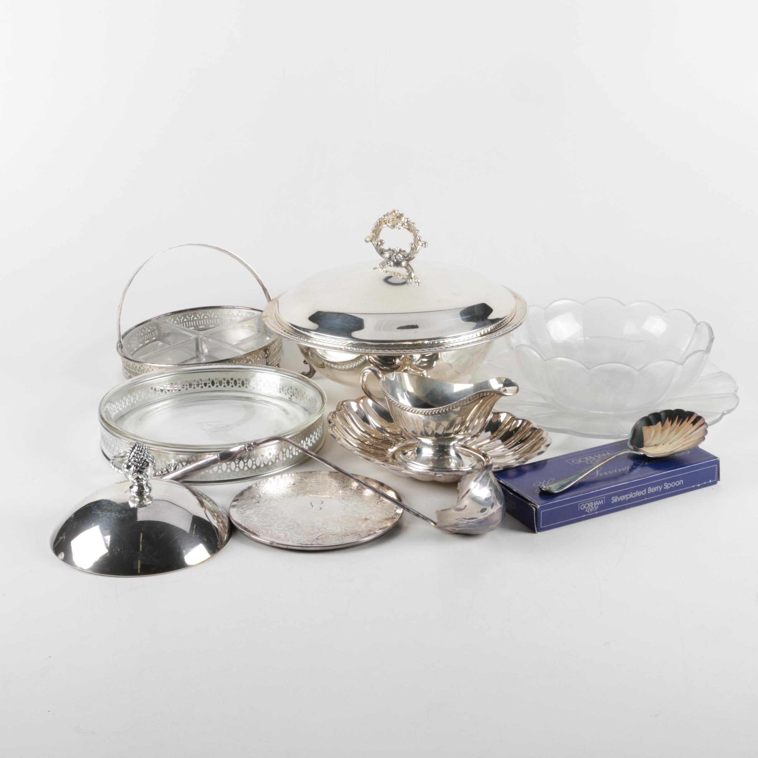 Reed & Barton Scalloped Silver Plate Bowl with Assorted Silver Plate and Glass