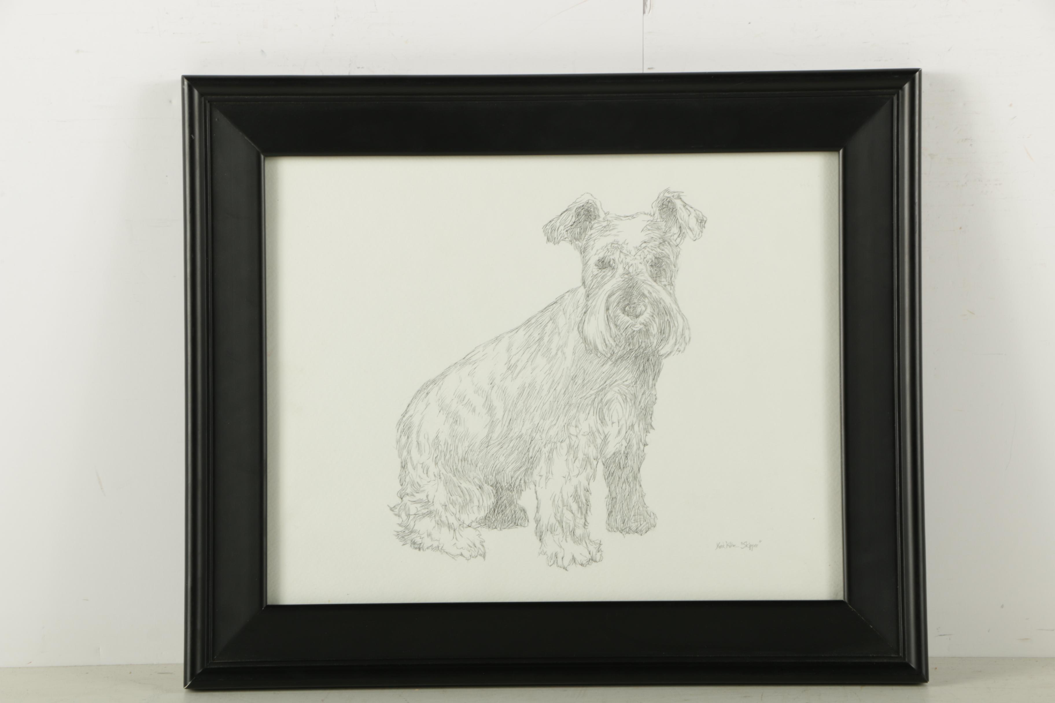 """Mark Kline Ink and Graphite Drawing on Paper """"Skipper"""""""
