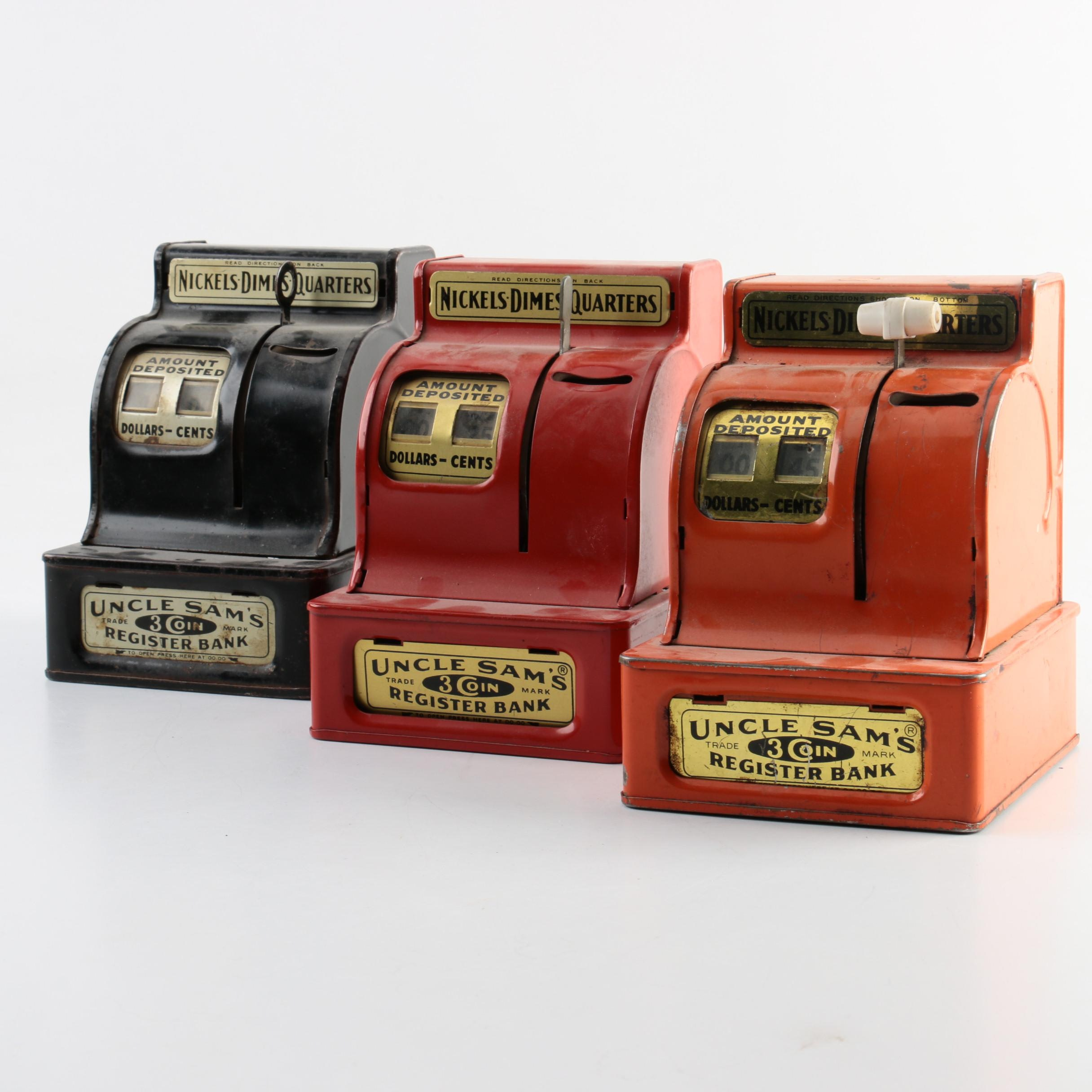 1960s Uncle Sam's 3-Coin Register Banks