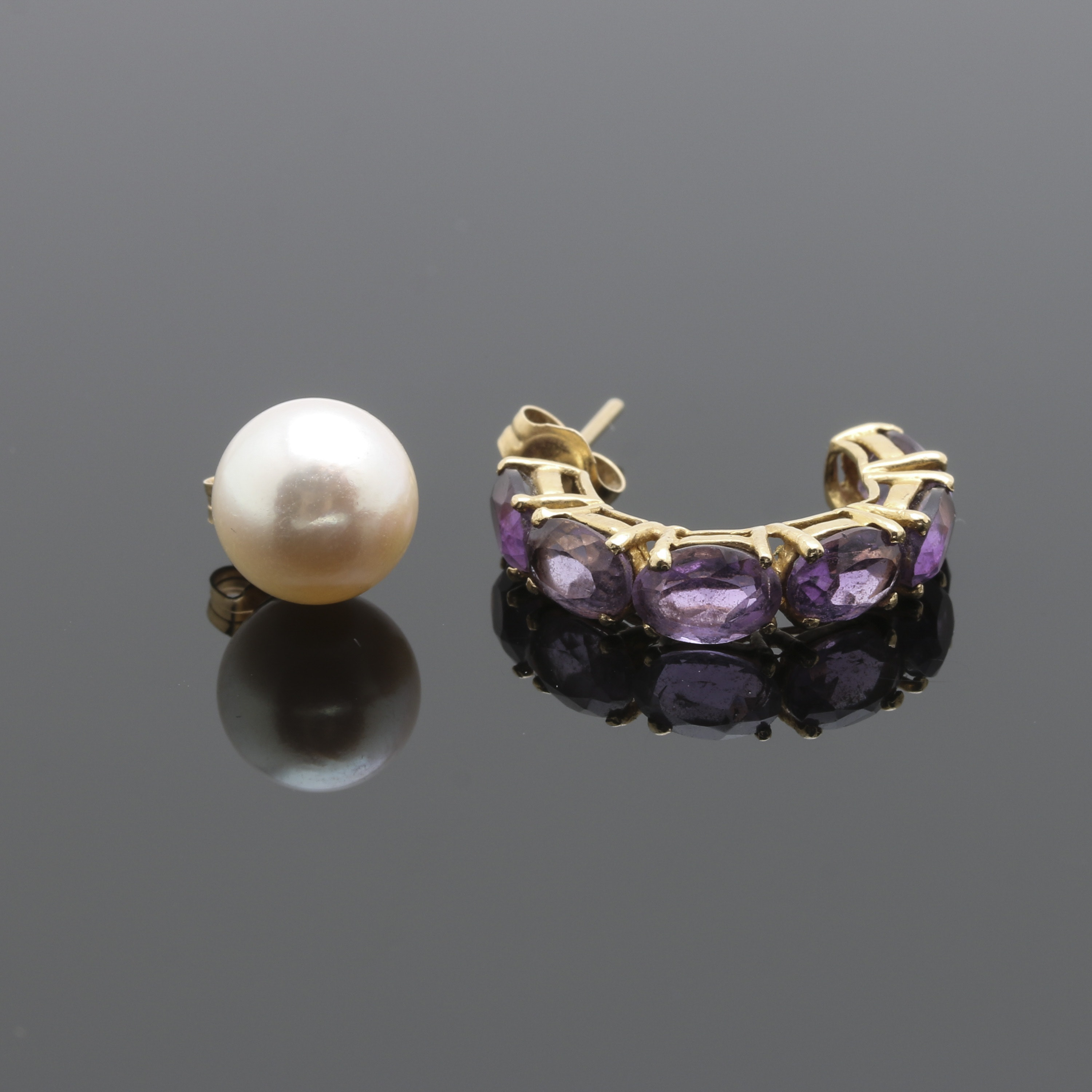 14K Yellow Gold Amethyst and Cultured Pearl Scrap Earrings