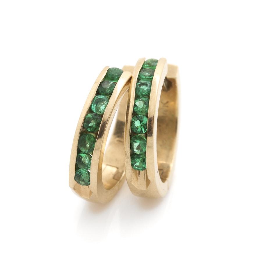14k Yellow Gold Emerald Hoop Earrings