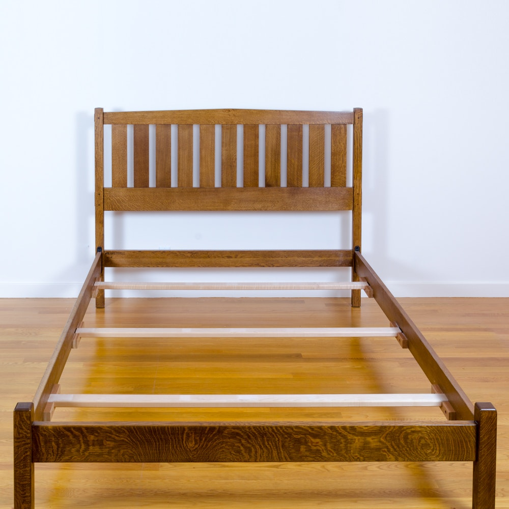 A Mission Style Oak Queen Size Bed Frame By Stickley ...