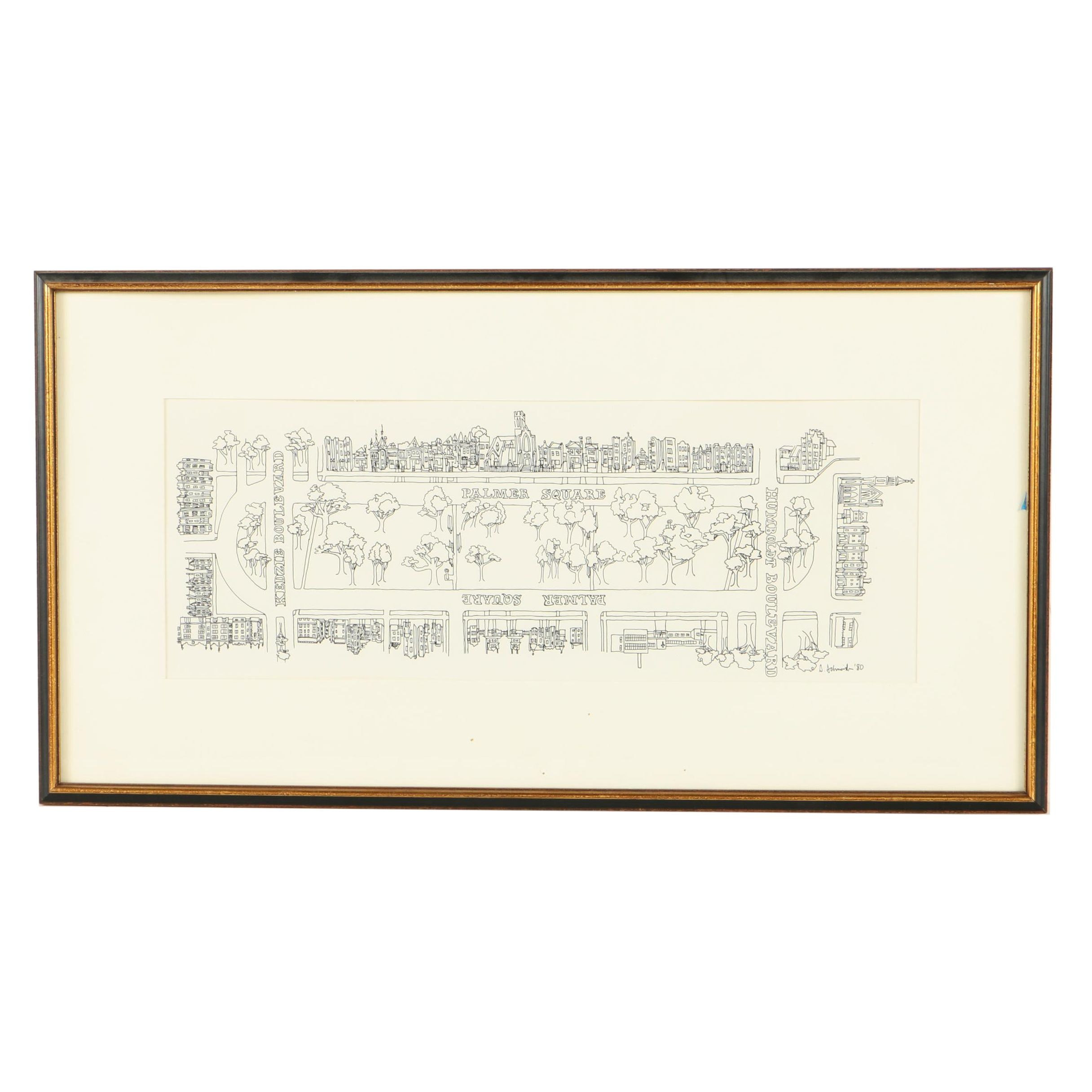 Signed Serigraph Print After Ink Drawing of Logan Square Neighborhood, Chicago