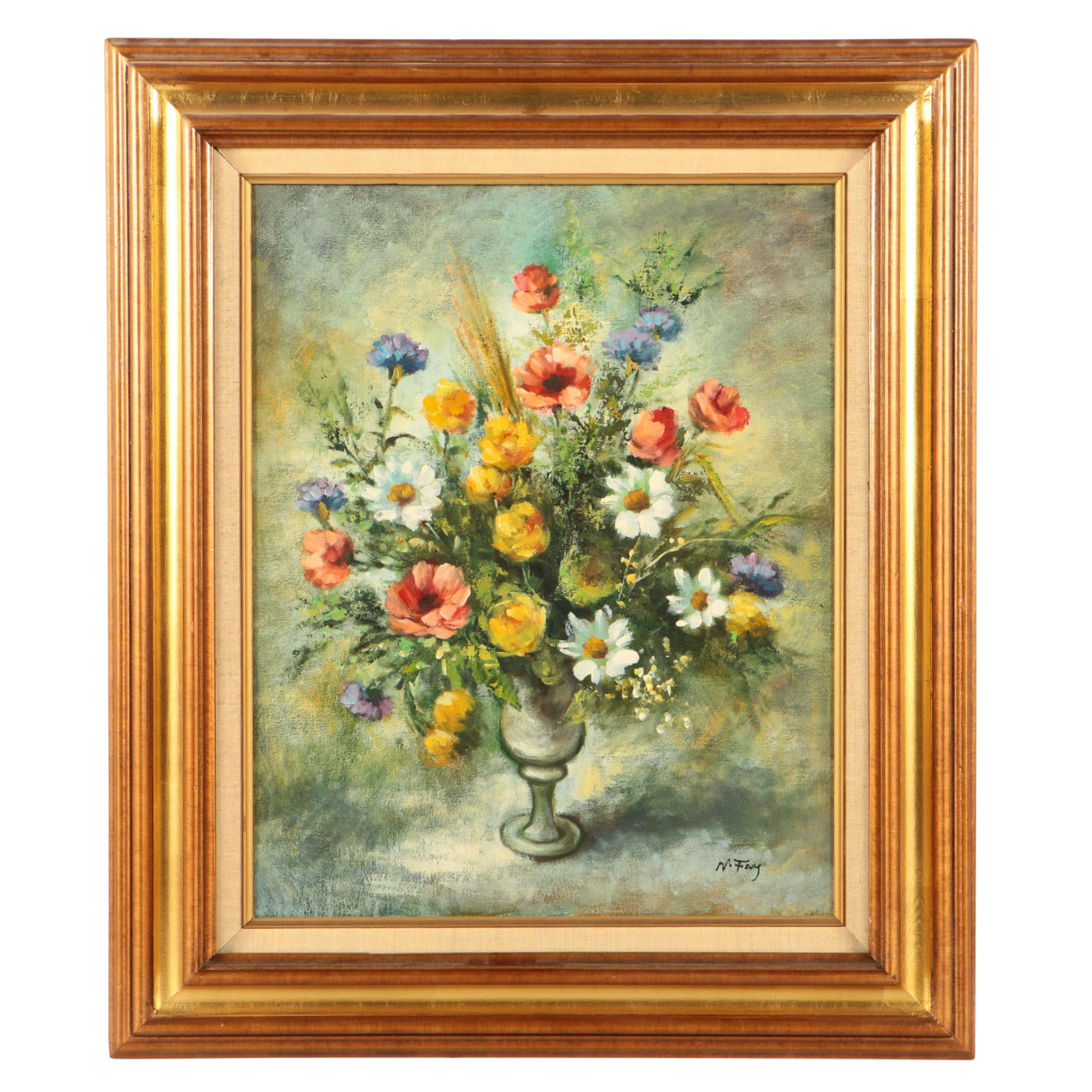 N. Fay Oil Painting on Canvas of Floral Still Life