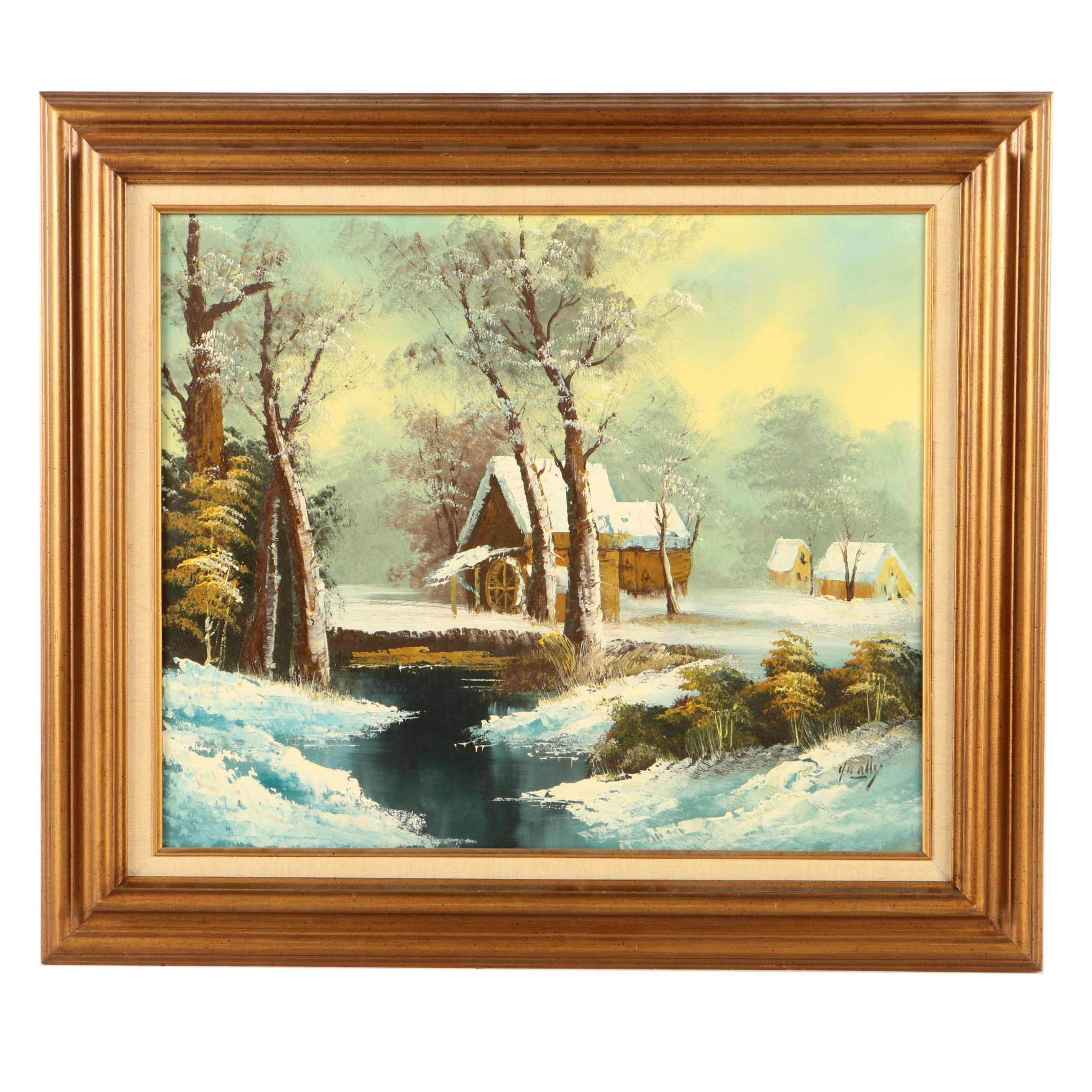 Oil Painting on Canvas Winter Landscape with Mill