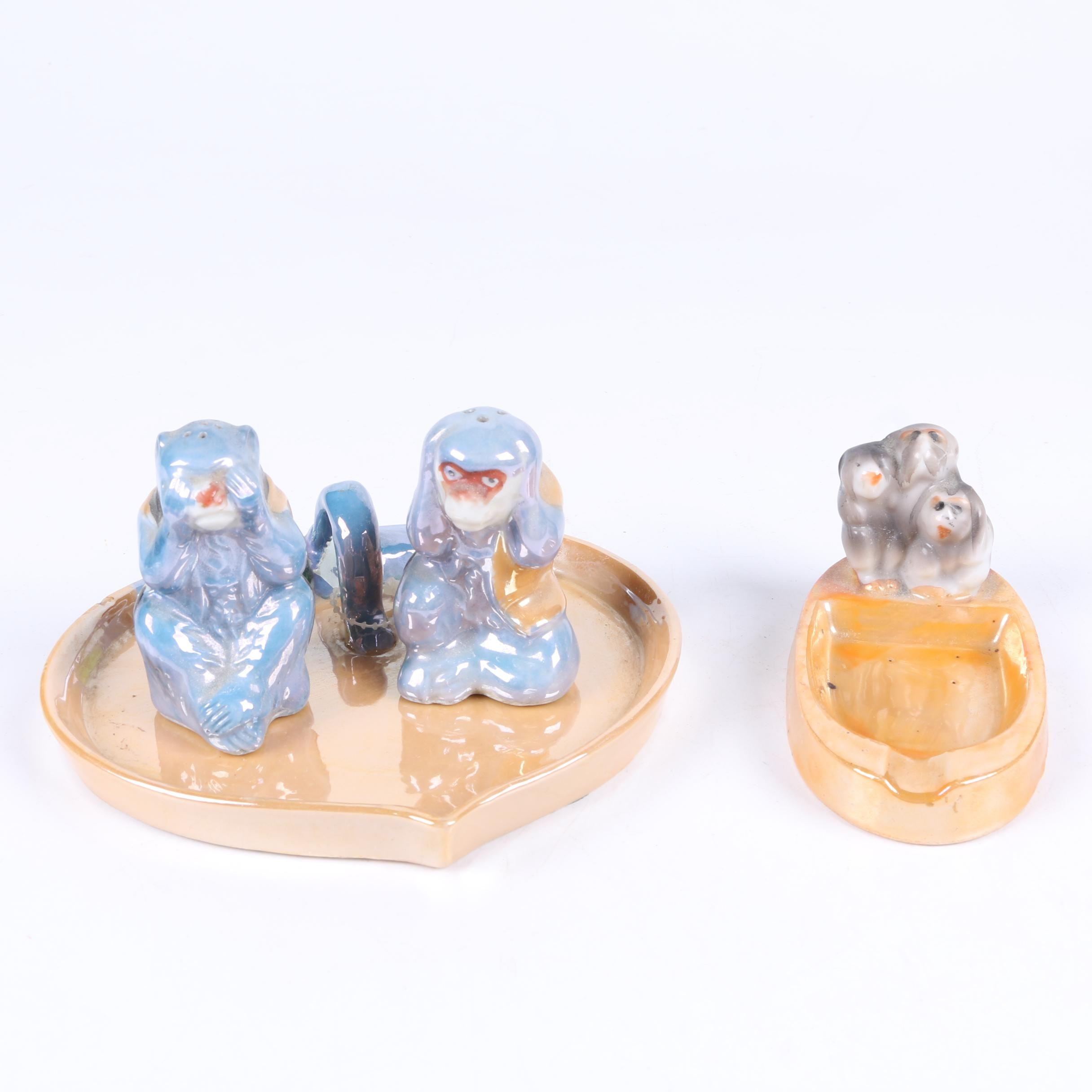 Japanese Monkey Motif Ceramic Casters and Ash Receiver