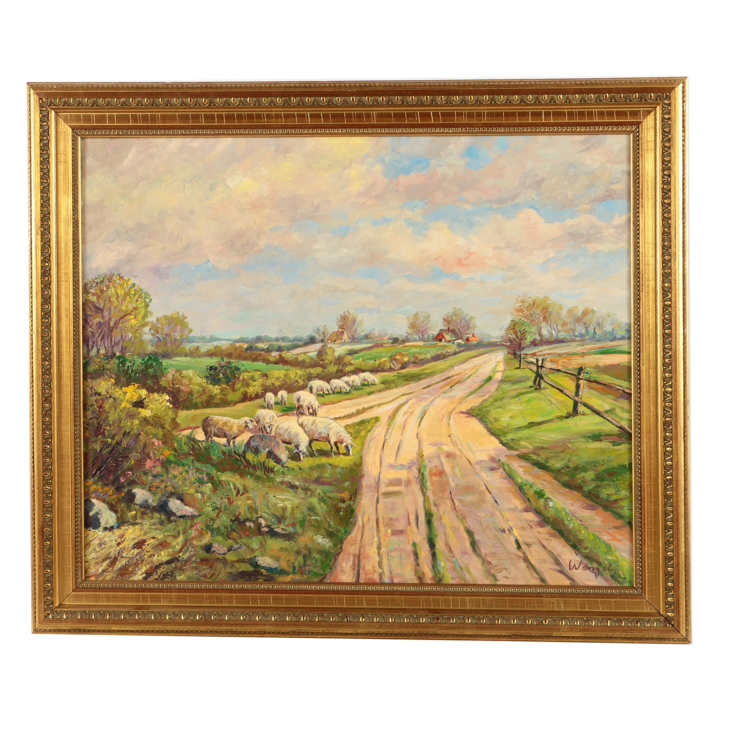 Wenzel Oil Painting on Canvas Pastoral Landscape with Sheep